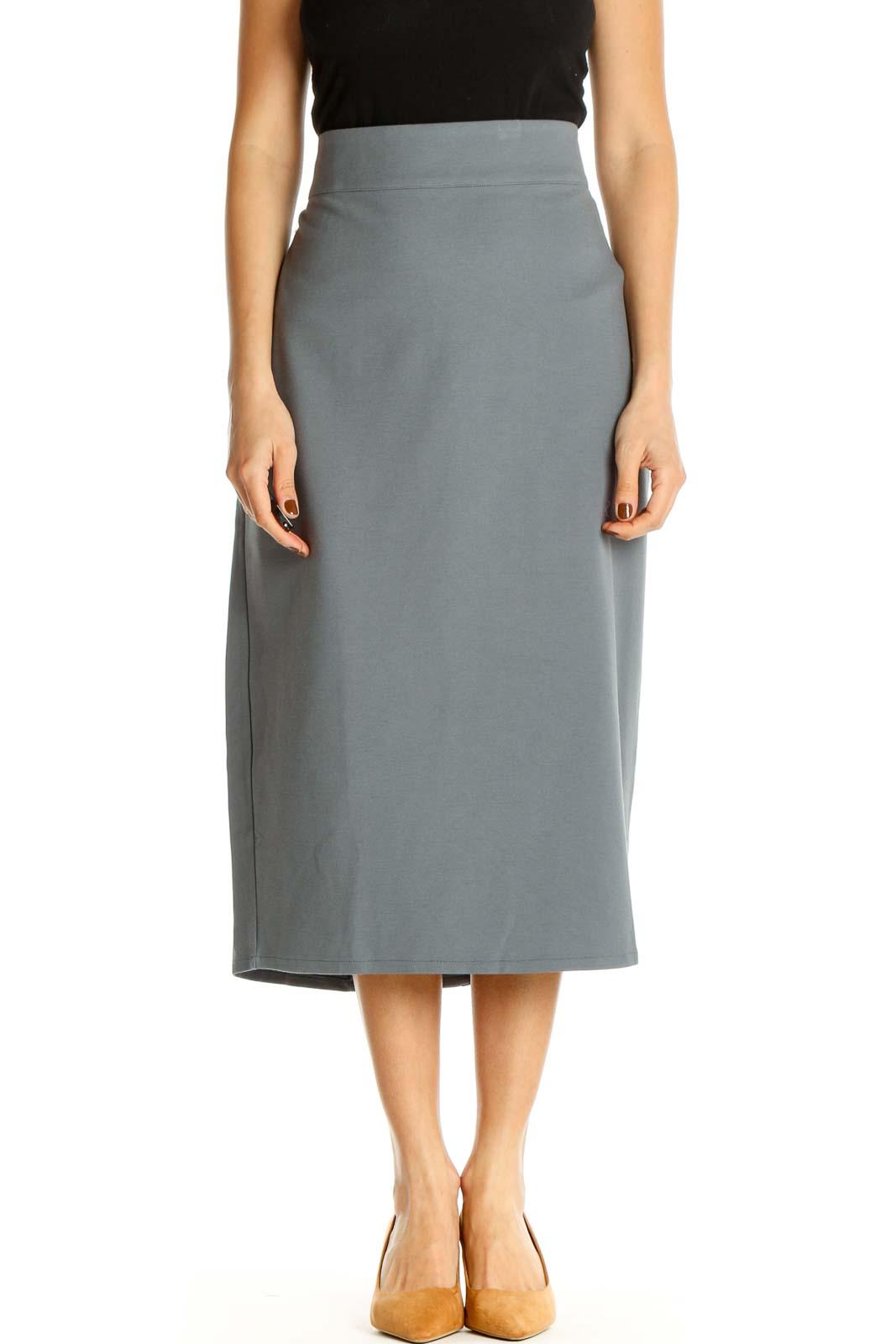Blue Solid Brunch Pencil Skirt Front