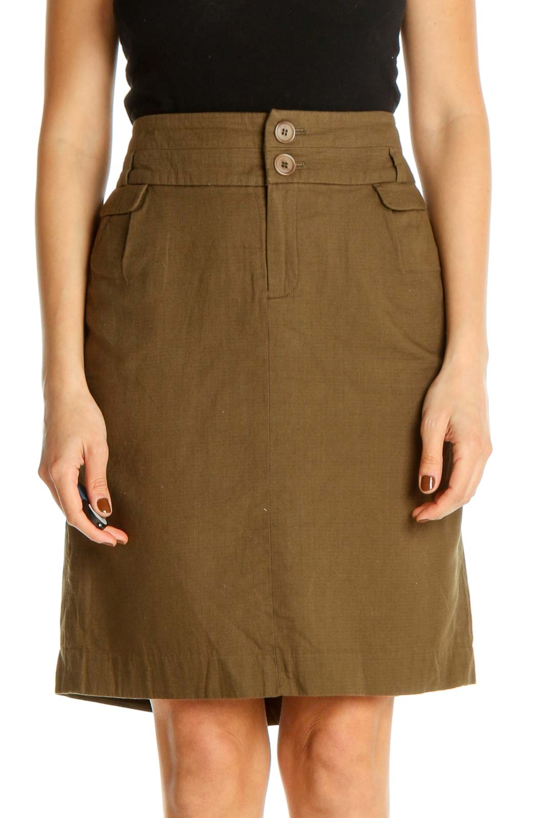 Brown Solid Classic A-Line Skirt Front
