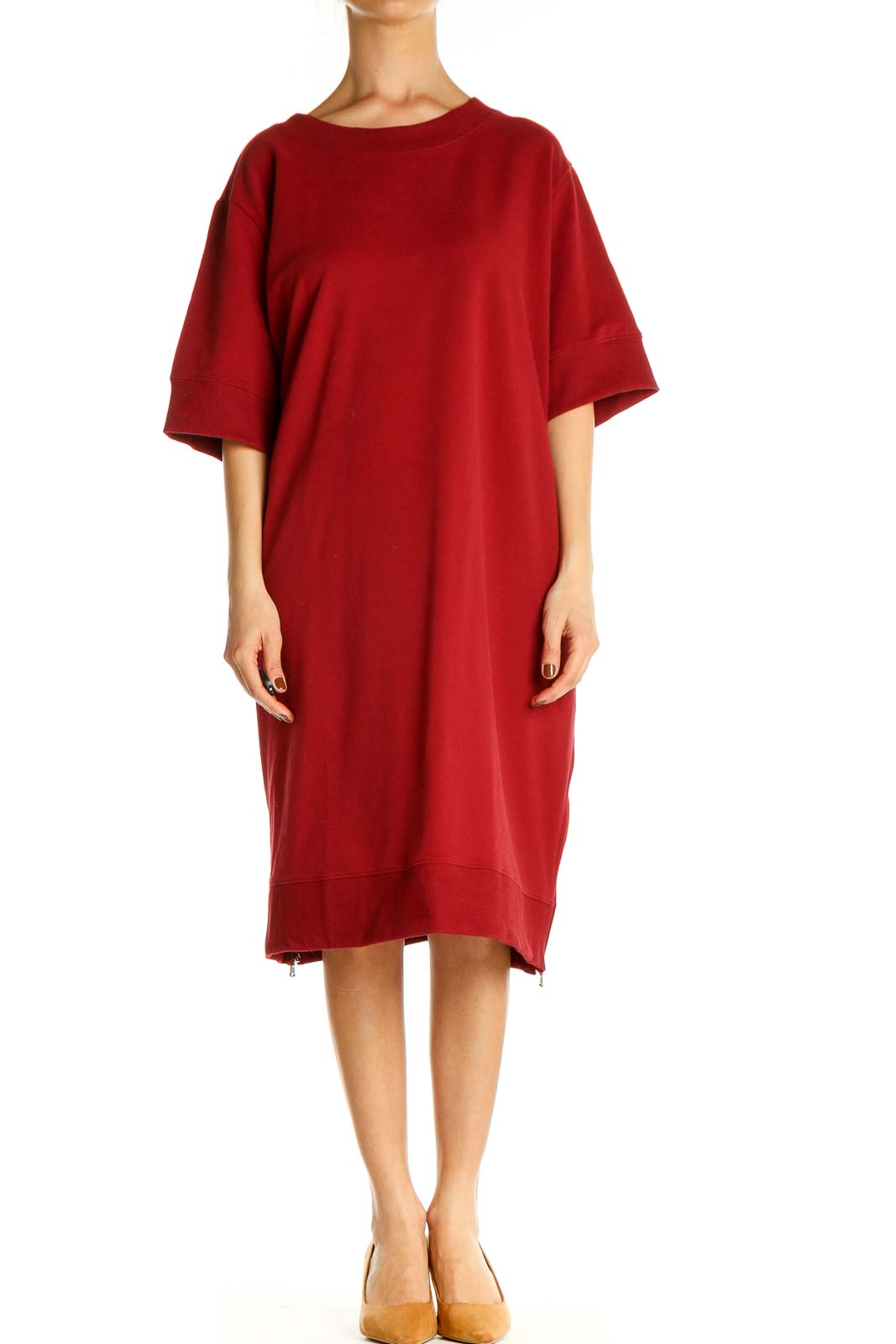 Red Solid Day Shift Dress Front