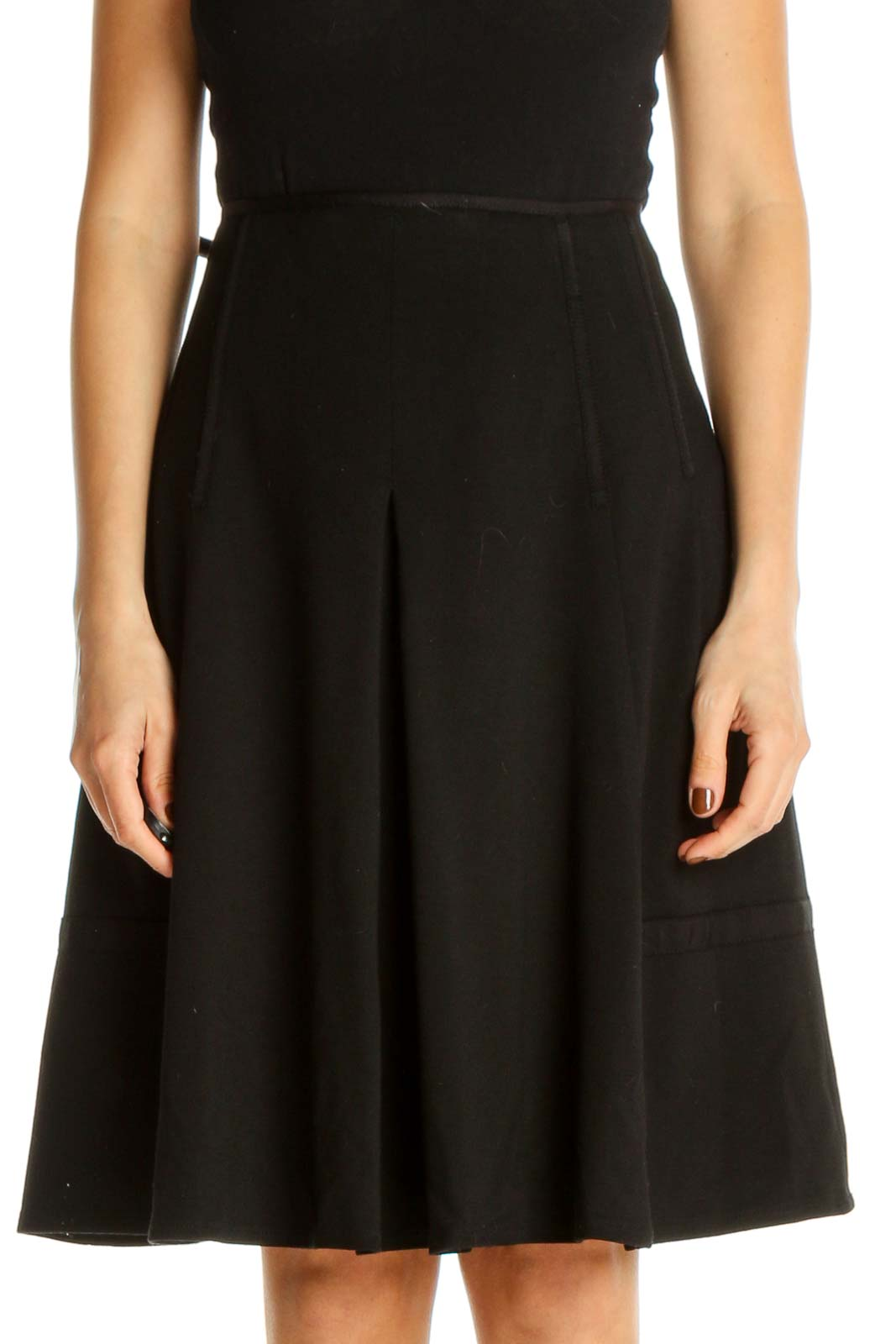 Black Solid Party Flared Skirt Front