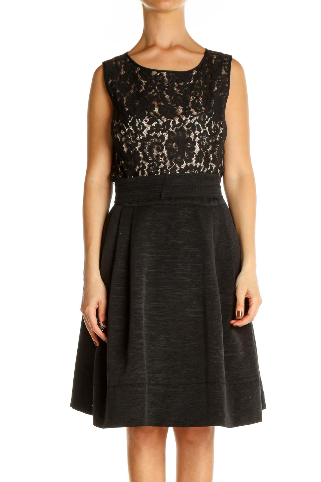 Black Lace Classic Fit & Flare Dress Front