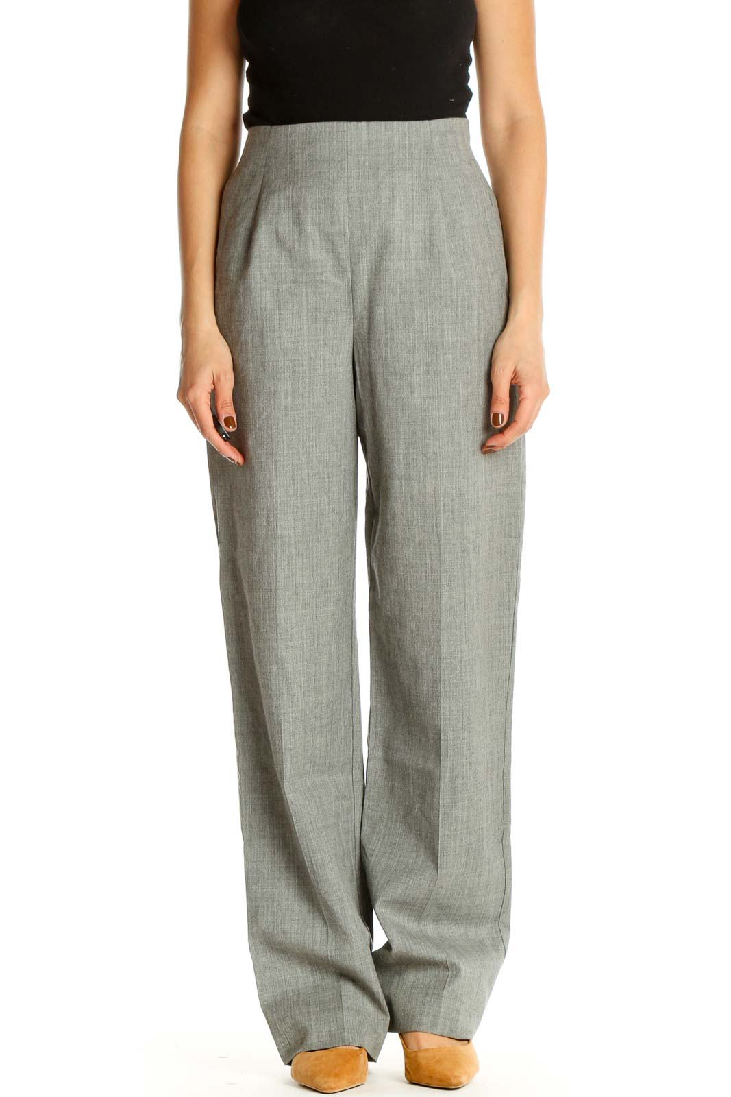 Gray Textured Classic Trousers Front