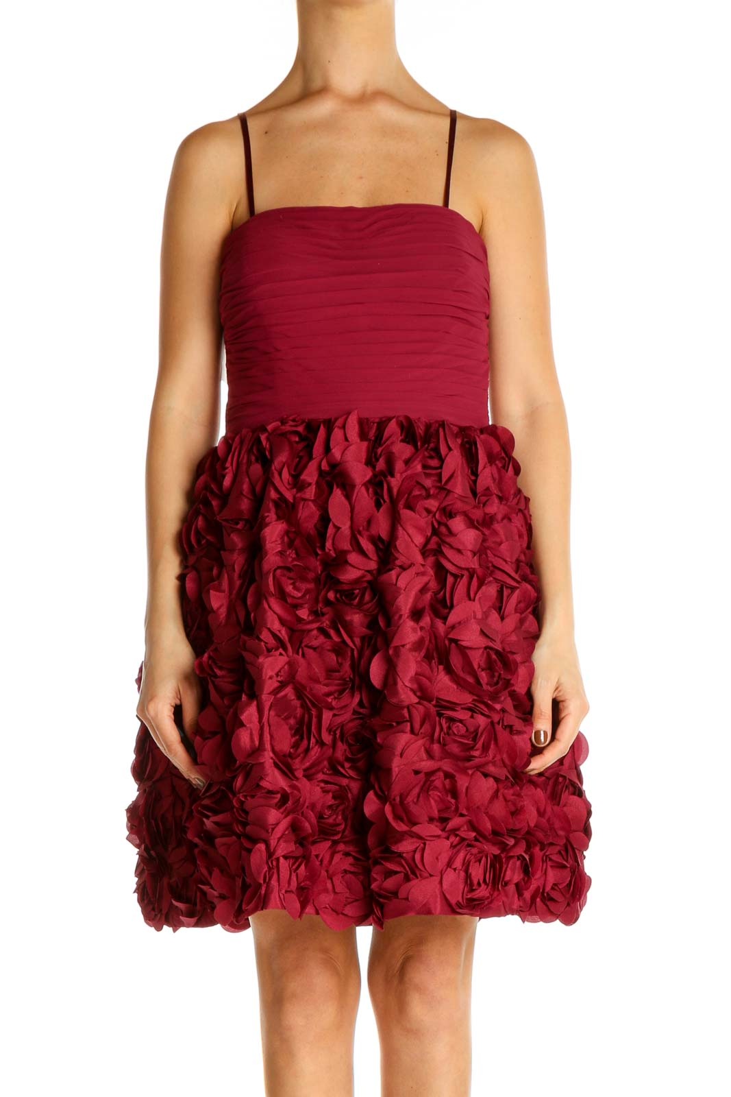 Red Textured Retro Fit & Flare Dress Front