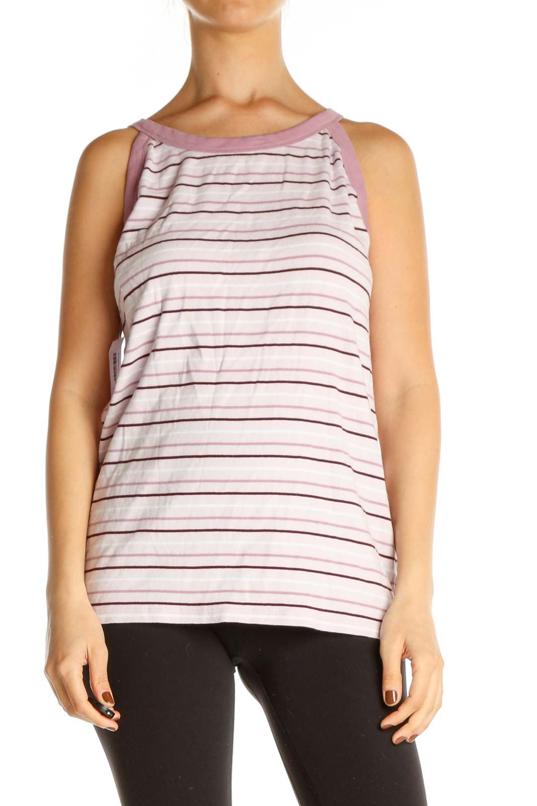 Pink Striped Casual Tank Top Front