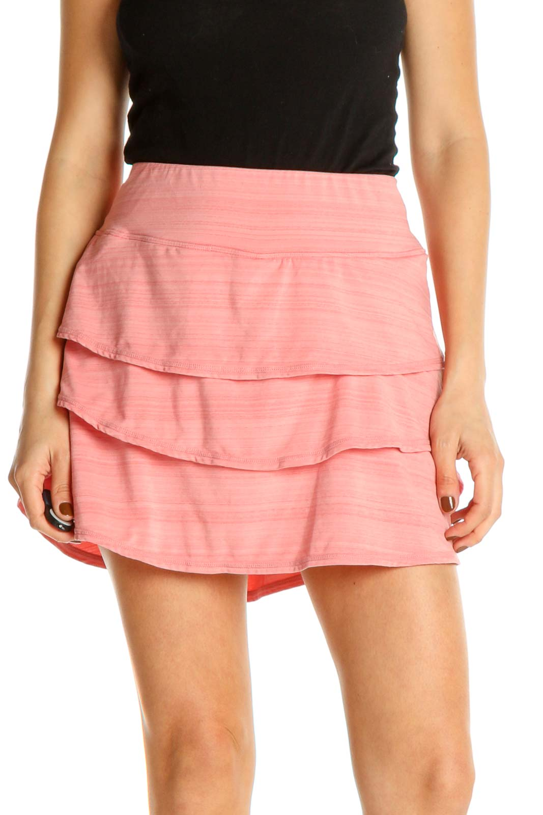 Pink Solid Party A-Line Skirt Front