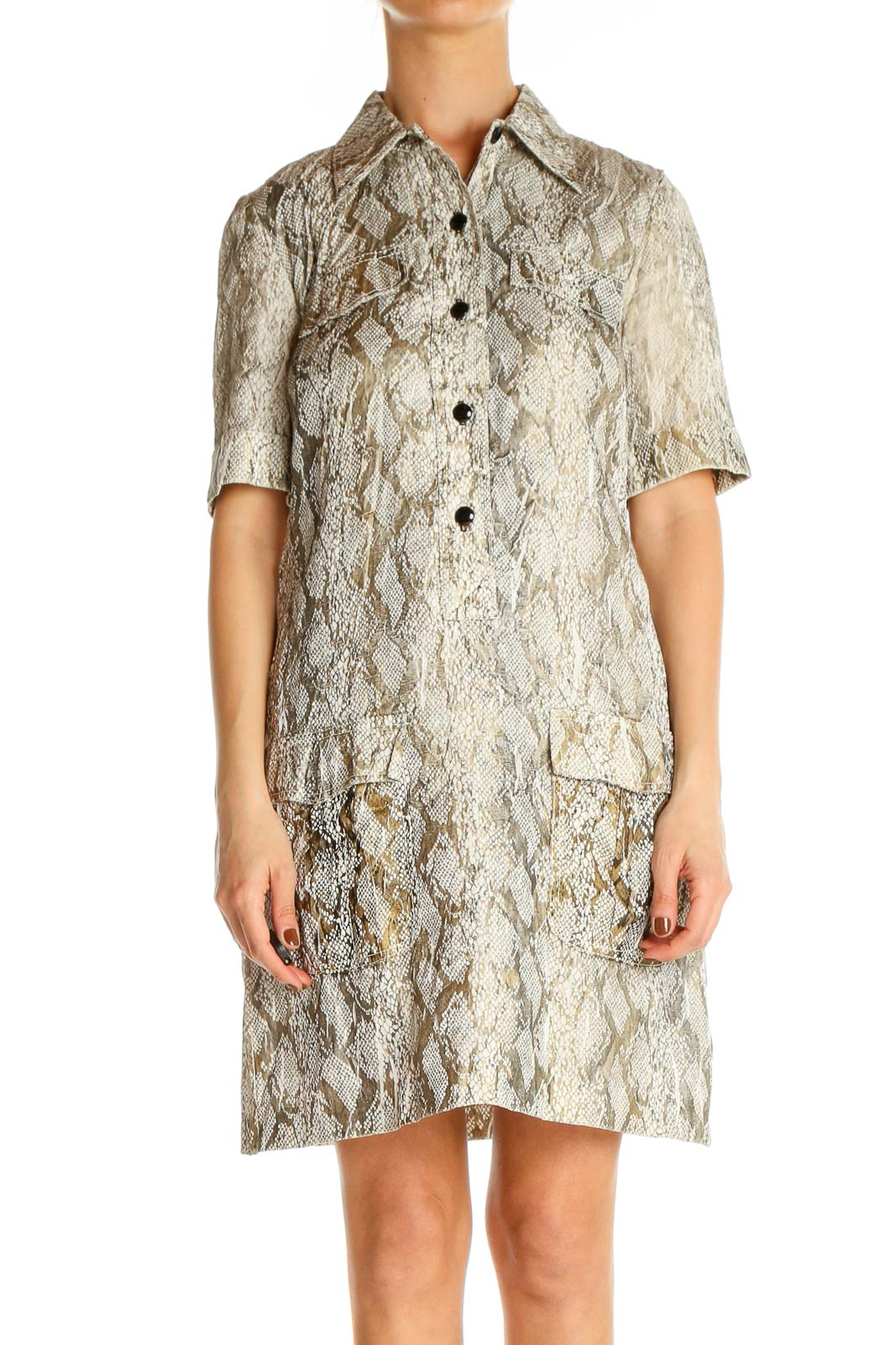 Beige Textured Fit & Flare Dress Front