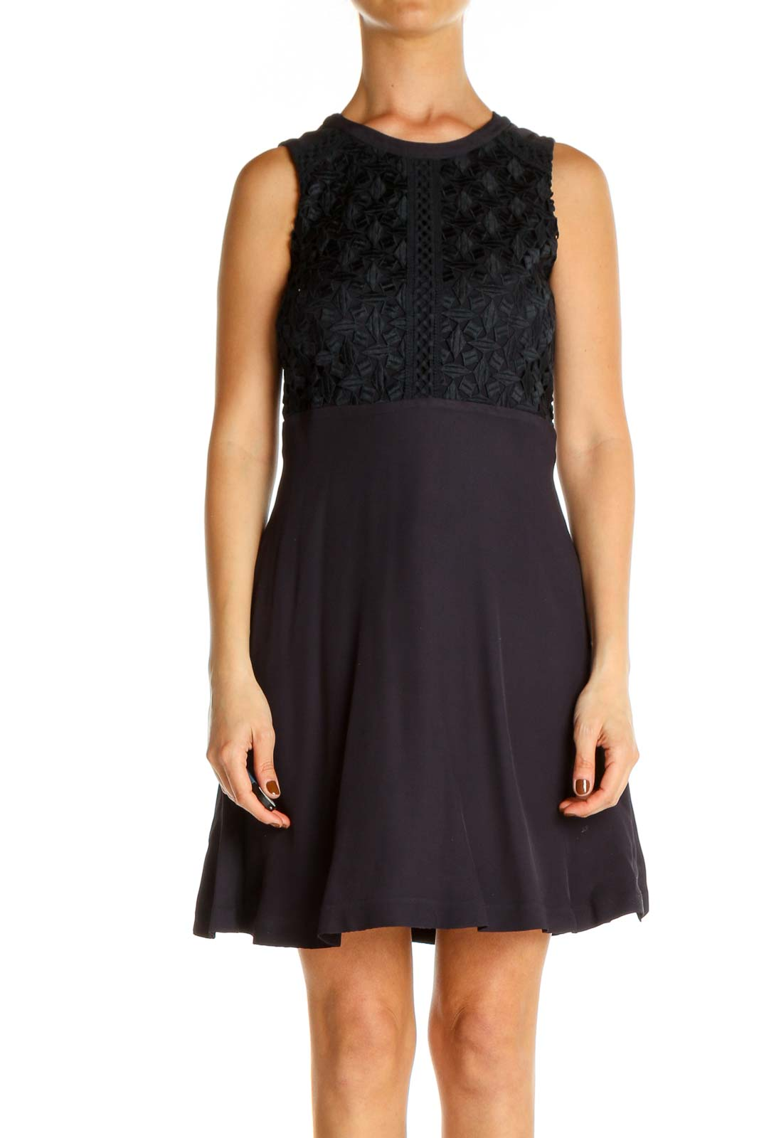 Brown Lace Day Fit & Flare Dress Front