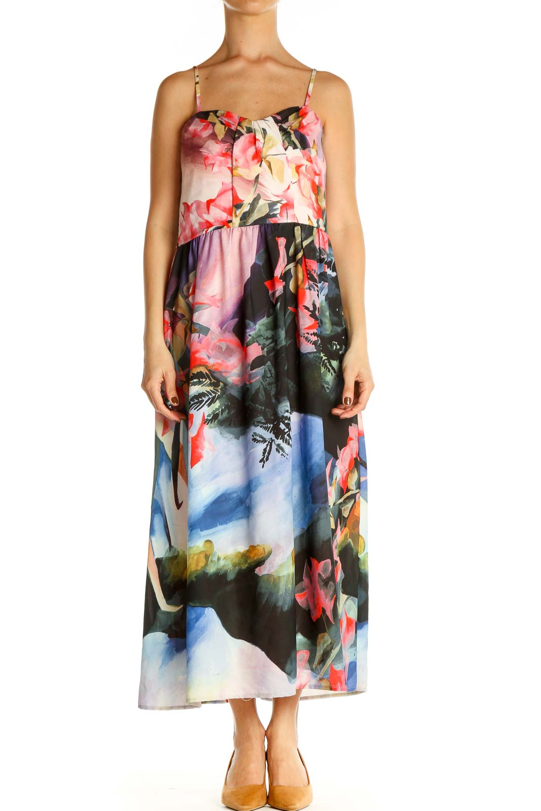 Black Floral Print Day Fit & Flare Dress Front