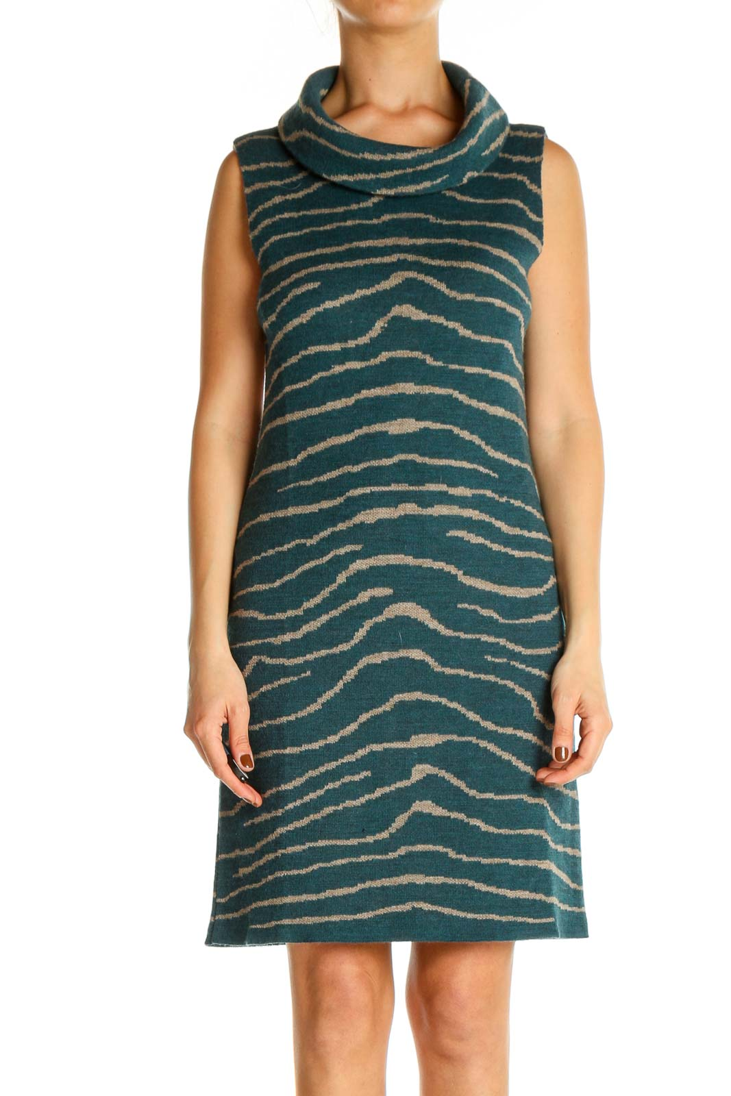 Green Animal Print Day A-Line Dress Front