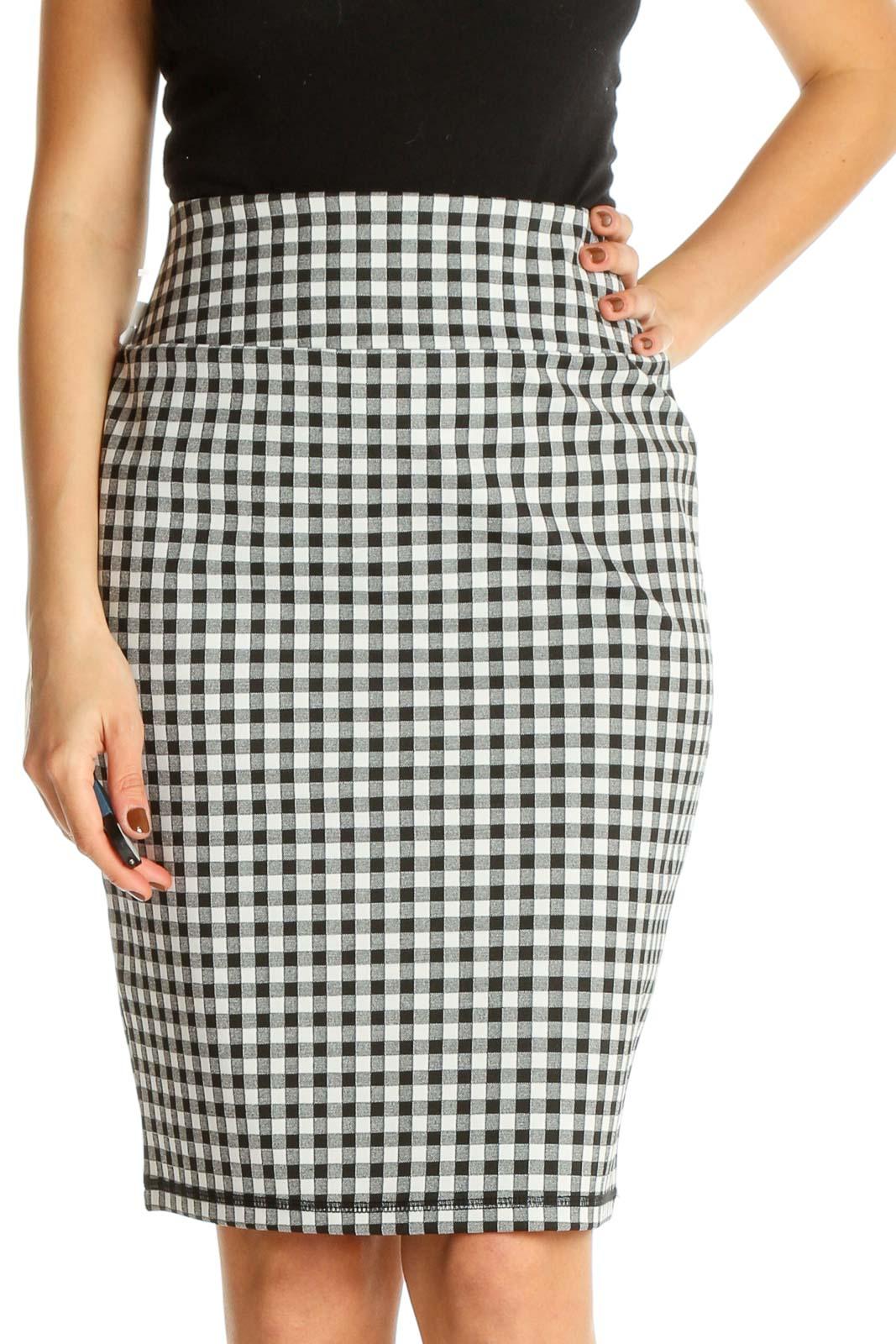 White Checkered Brunch Pencil Skirt Front