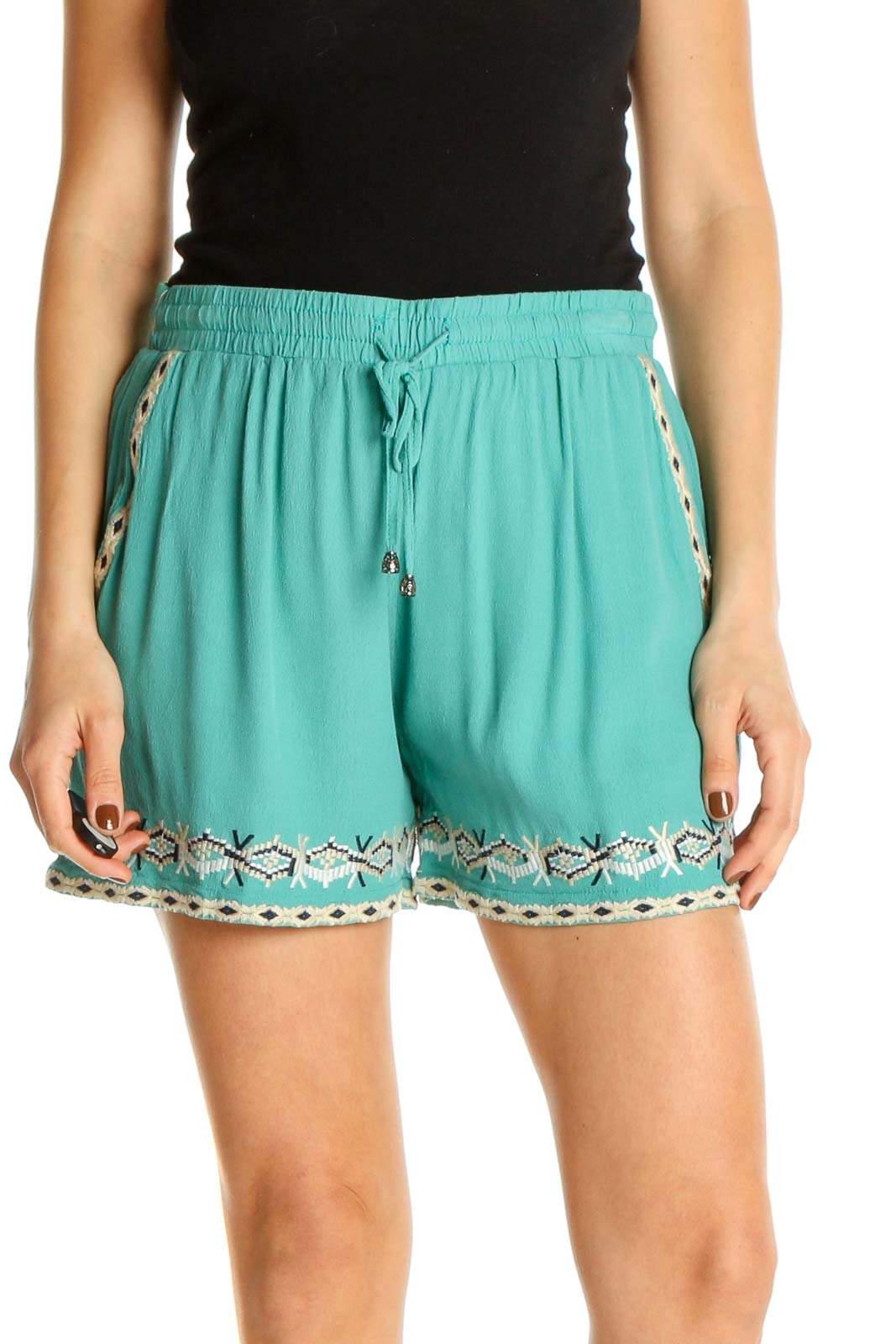 Blue Graphic Print Casual Shorts Front