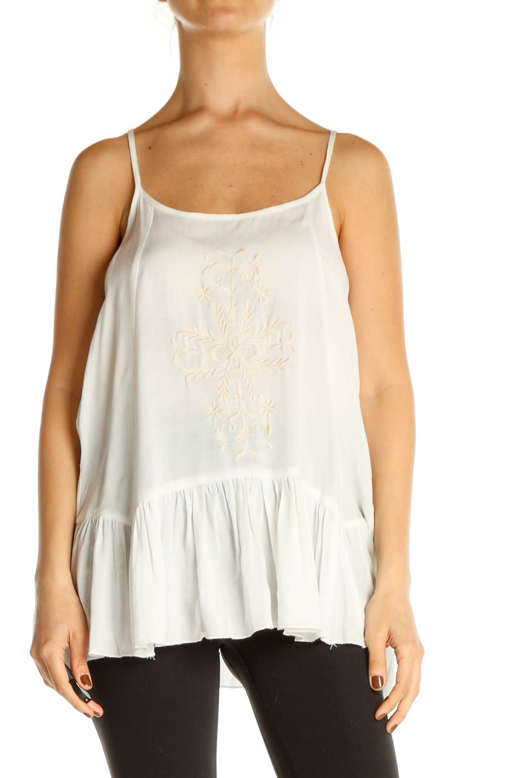 White Lace Chic Tank Top Front