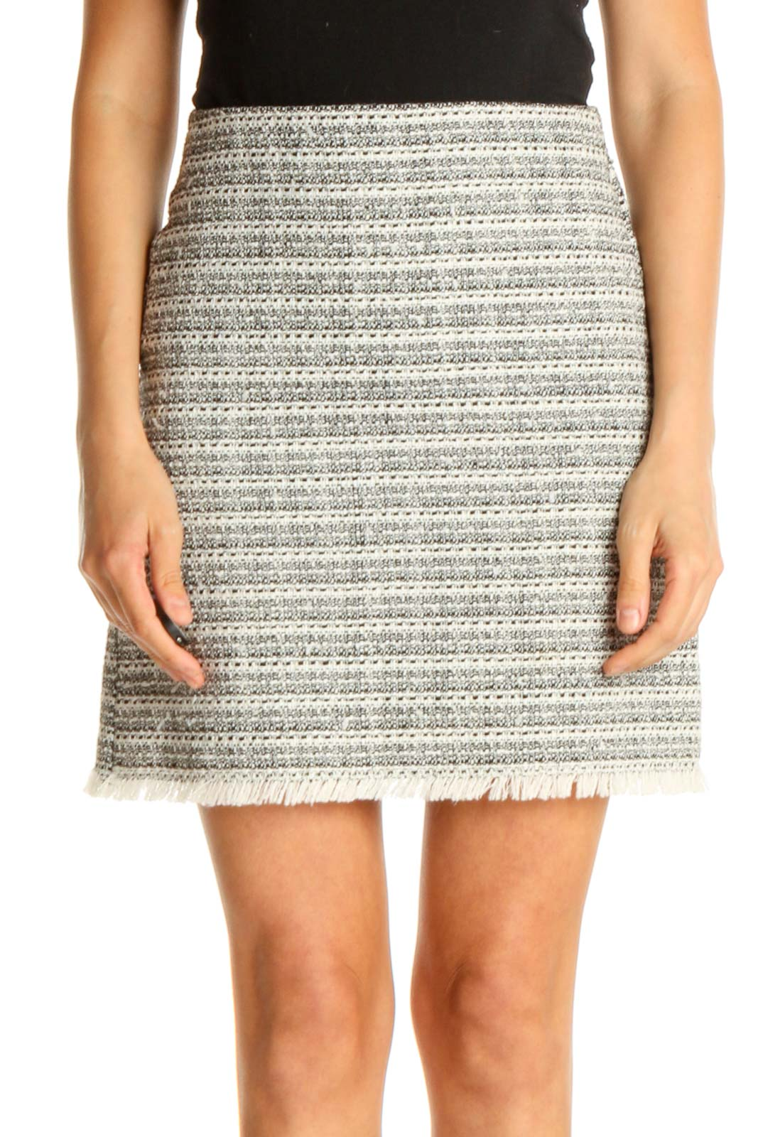 Gray Printed Brunch A-Line Skirt Front