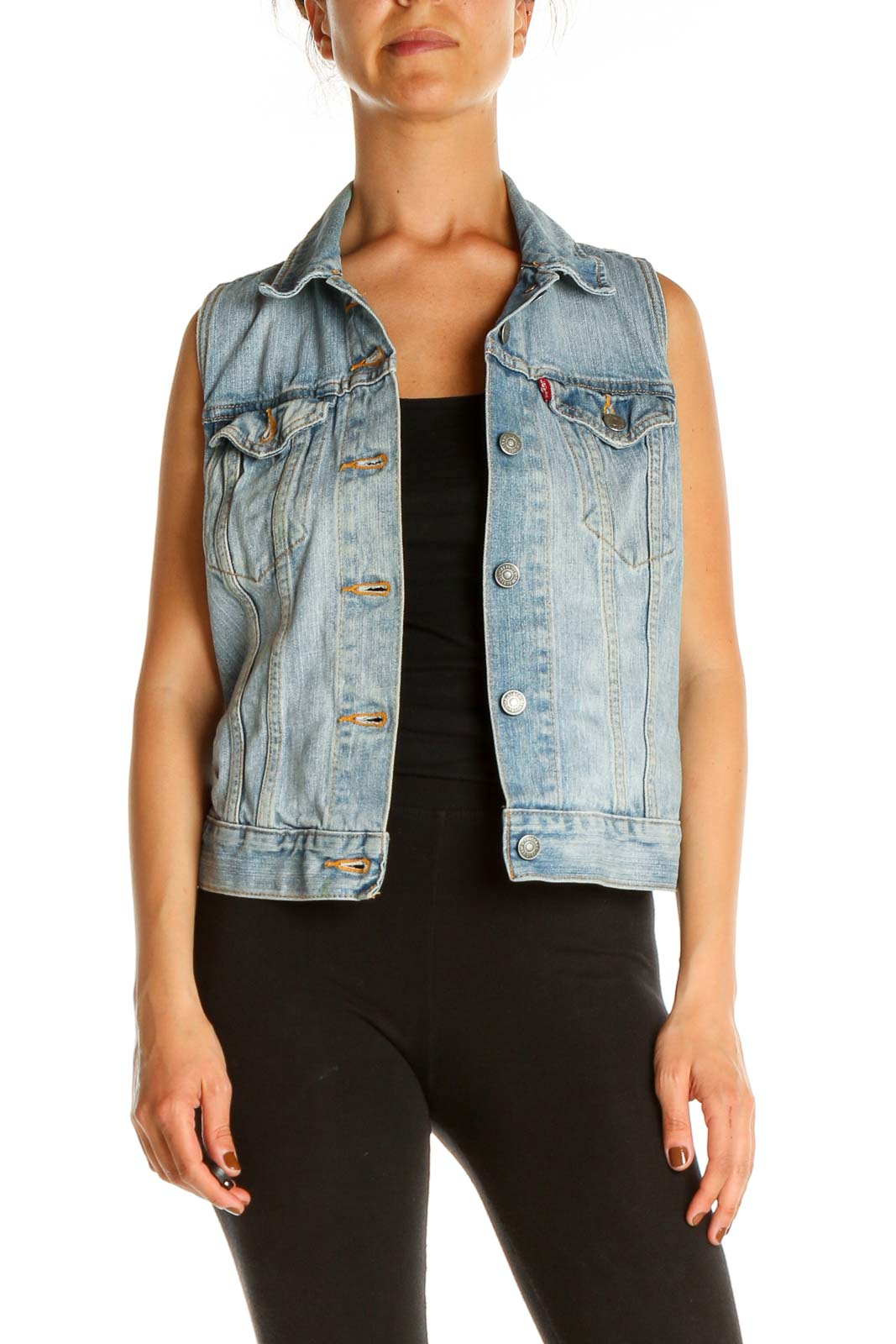 Blue Denim Vest Front