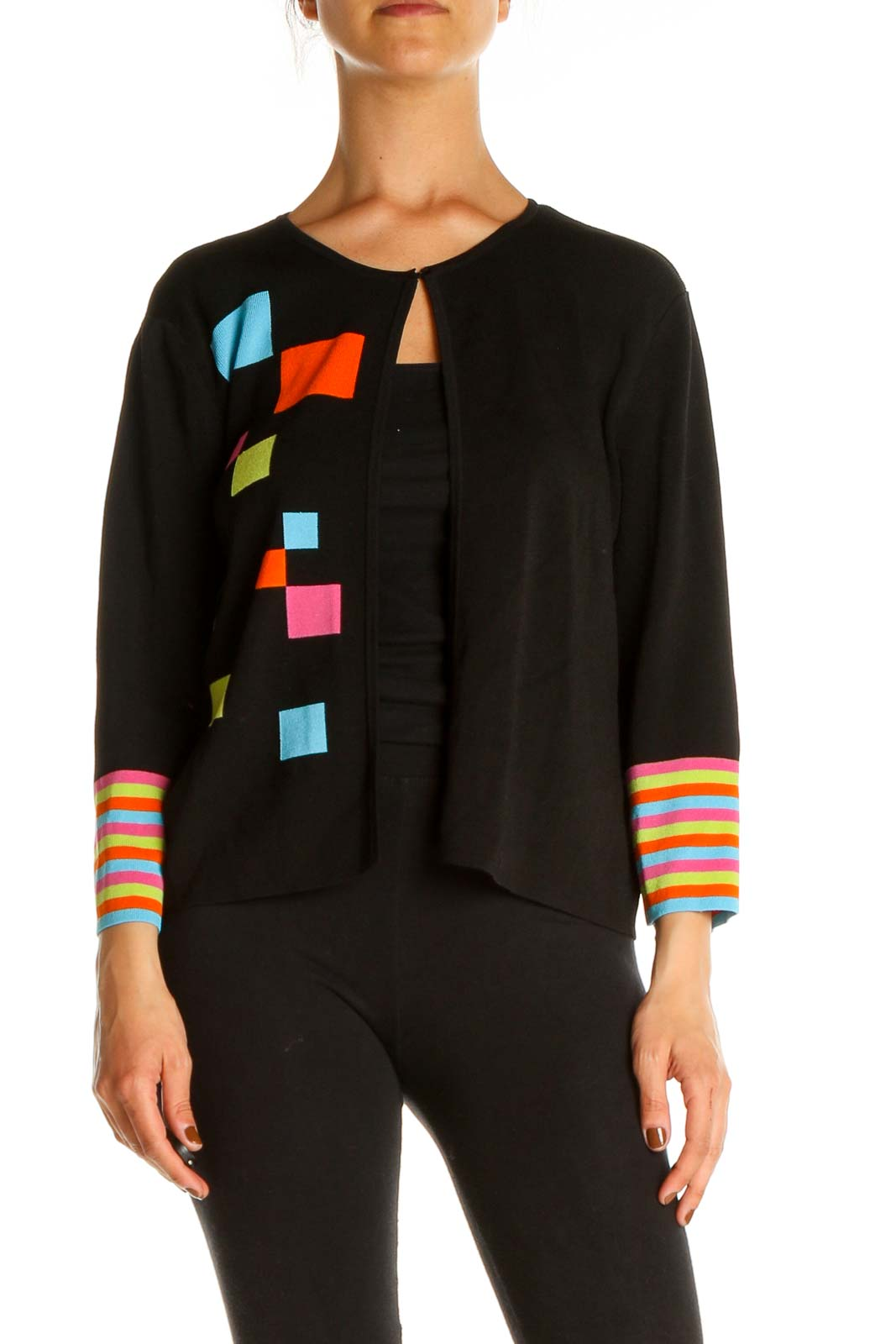 Black Multi-Color Cardigan Front