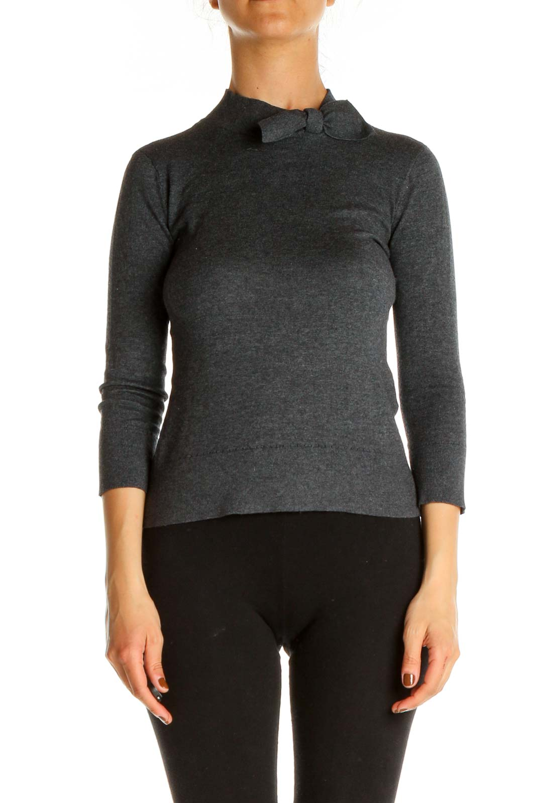 Gray Textured Brunch Sweater Front