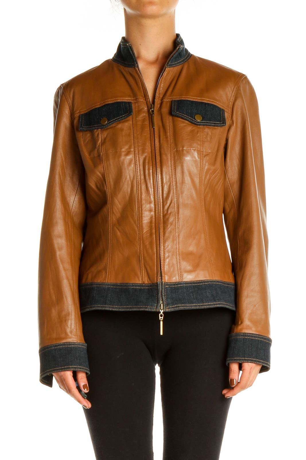 Brown Motorcycle Jacket Front