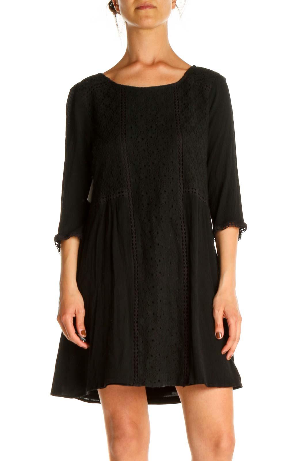 Black Lace Bohemian Dress Front