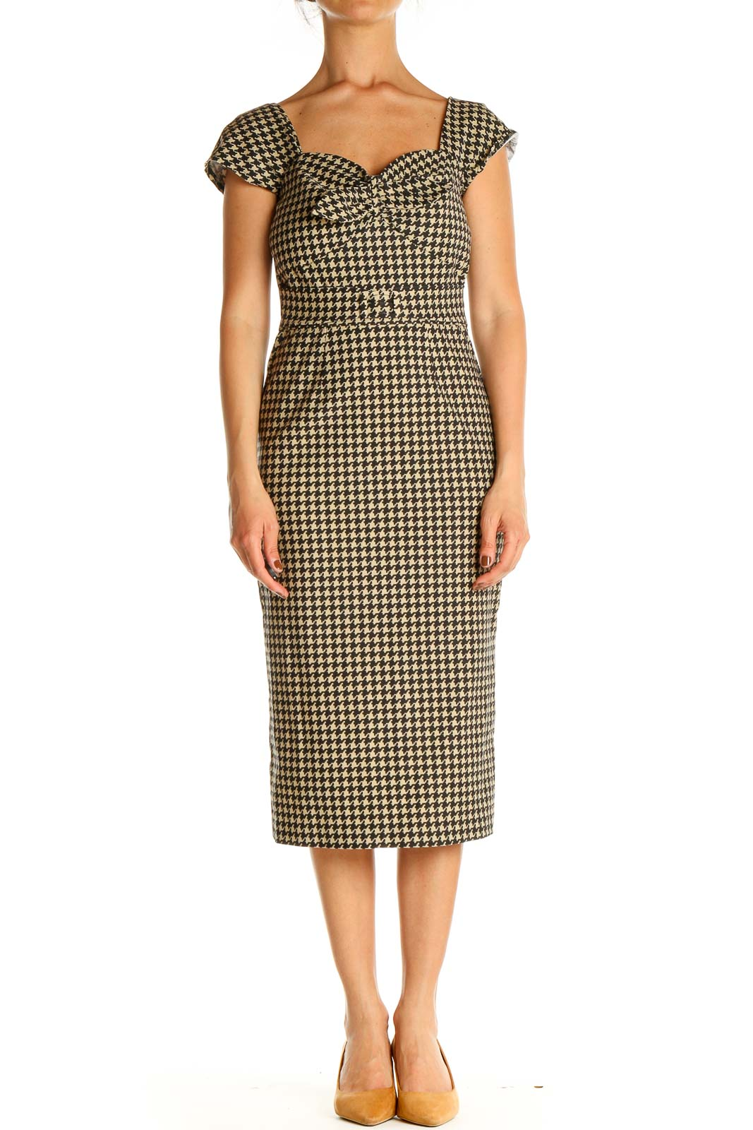Brown Houndstooth Classic Sheath Dress Front