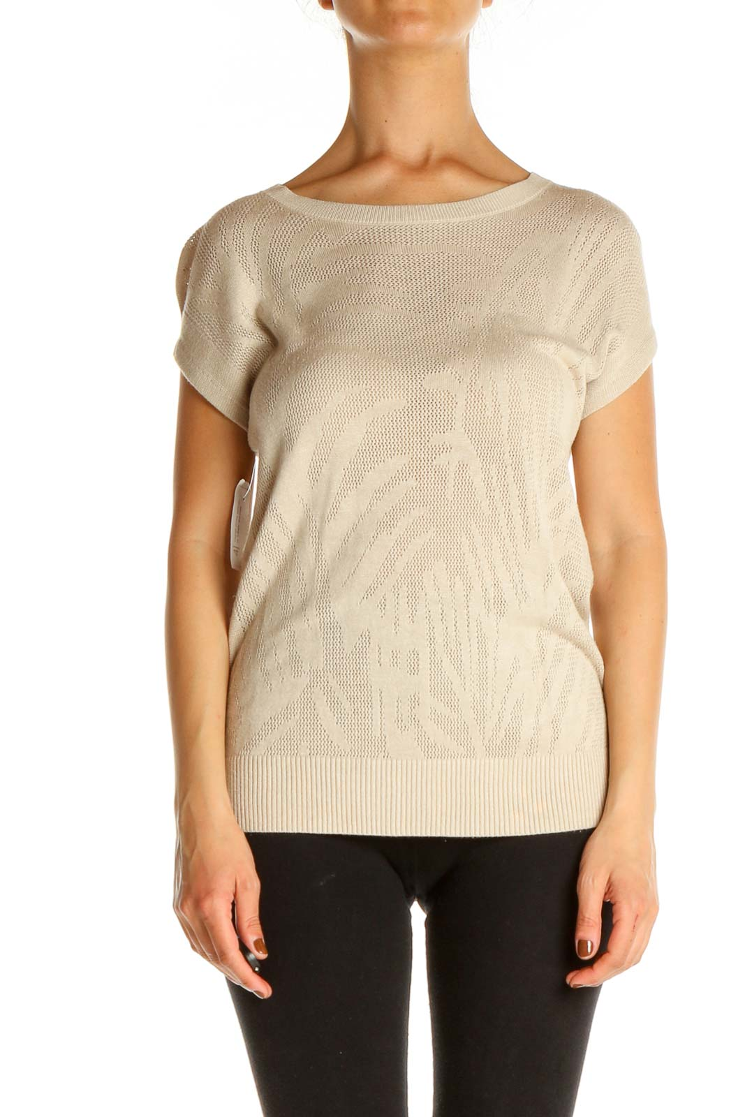 Beige Textured Casual Blouse Front