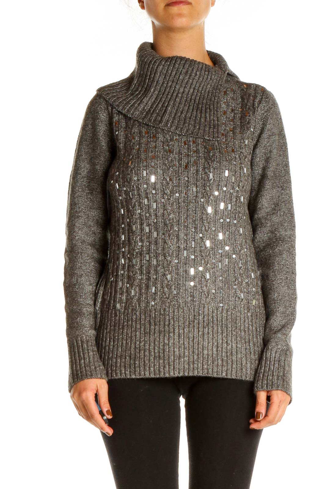 Gray Sequin Holiday Sweater Front