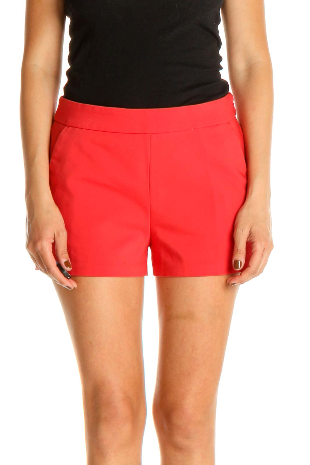 Red Solid All Day Wear Shorts Front