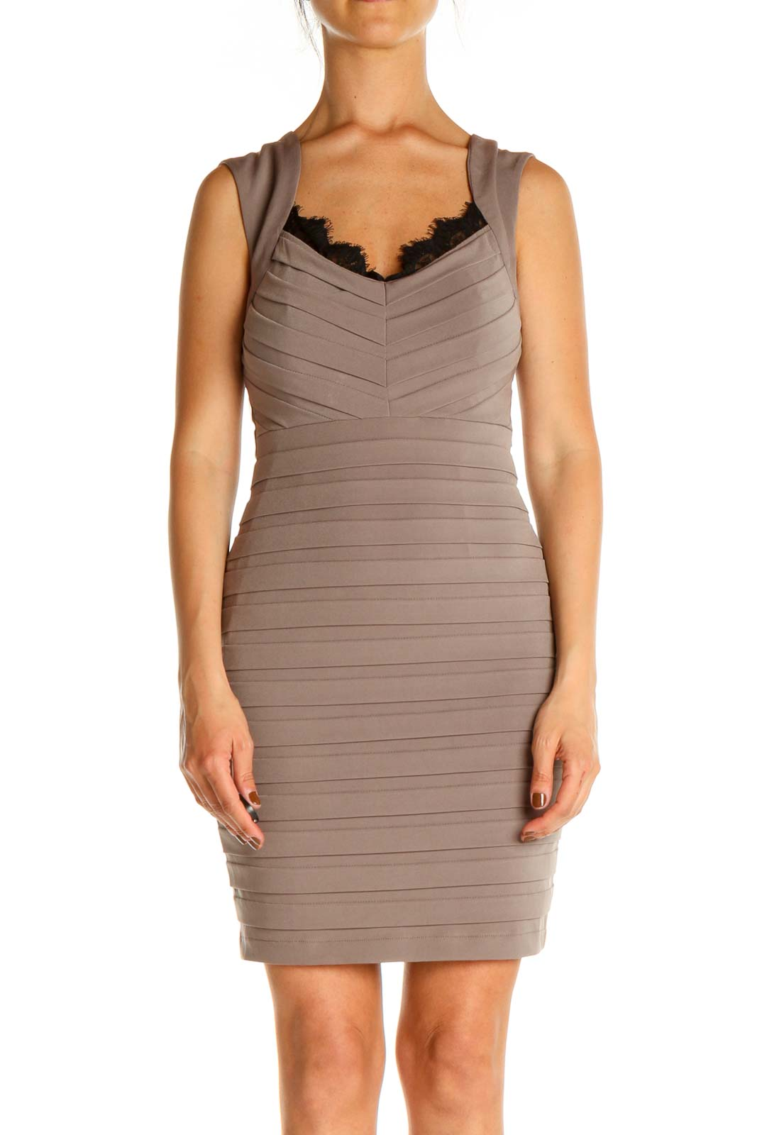Beige Lace Work Sheath Dress Front