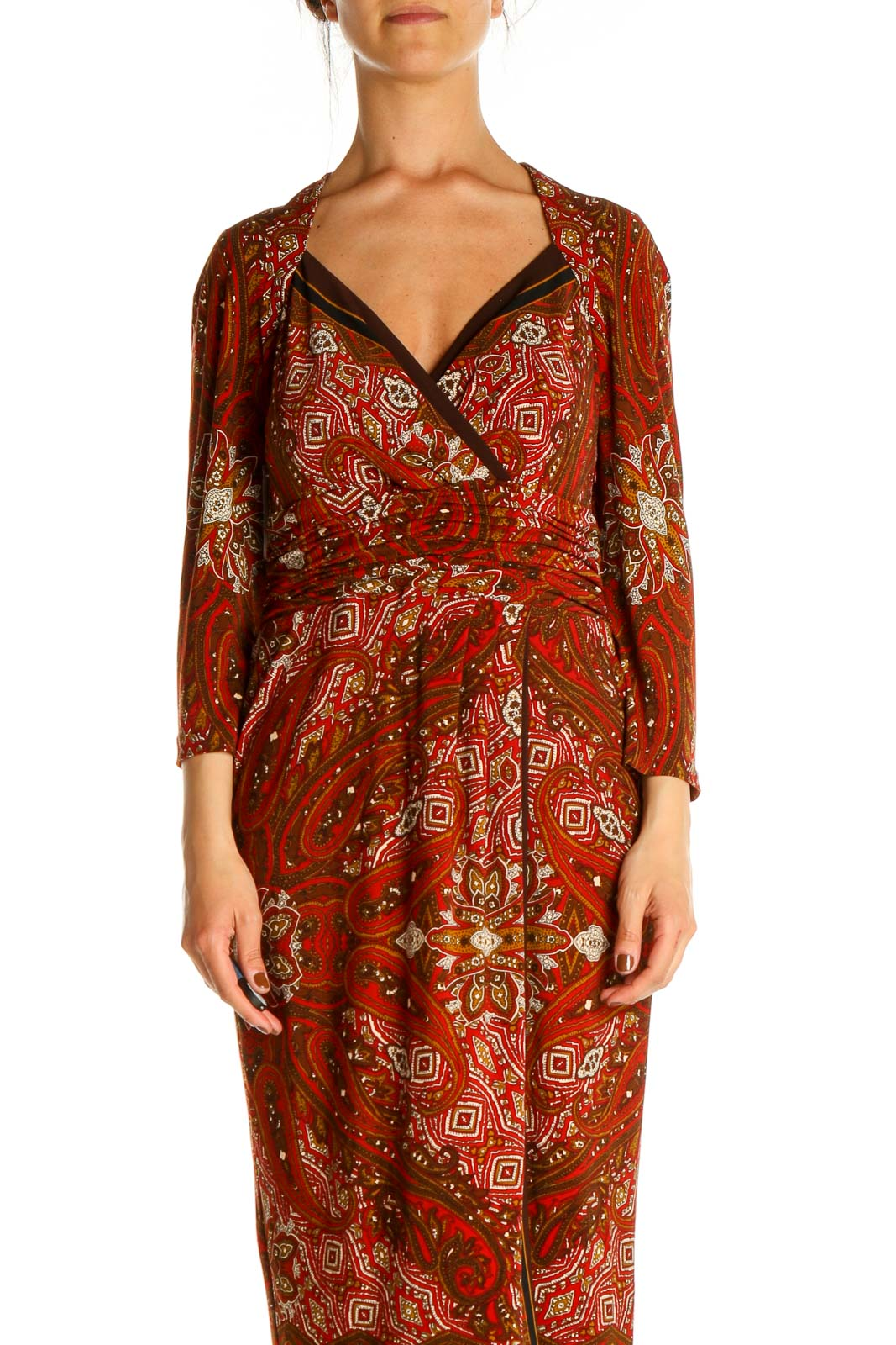 Red Paisley Fit & Flare Dress Front