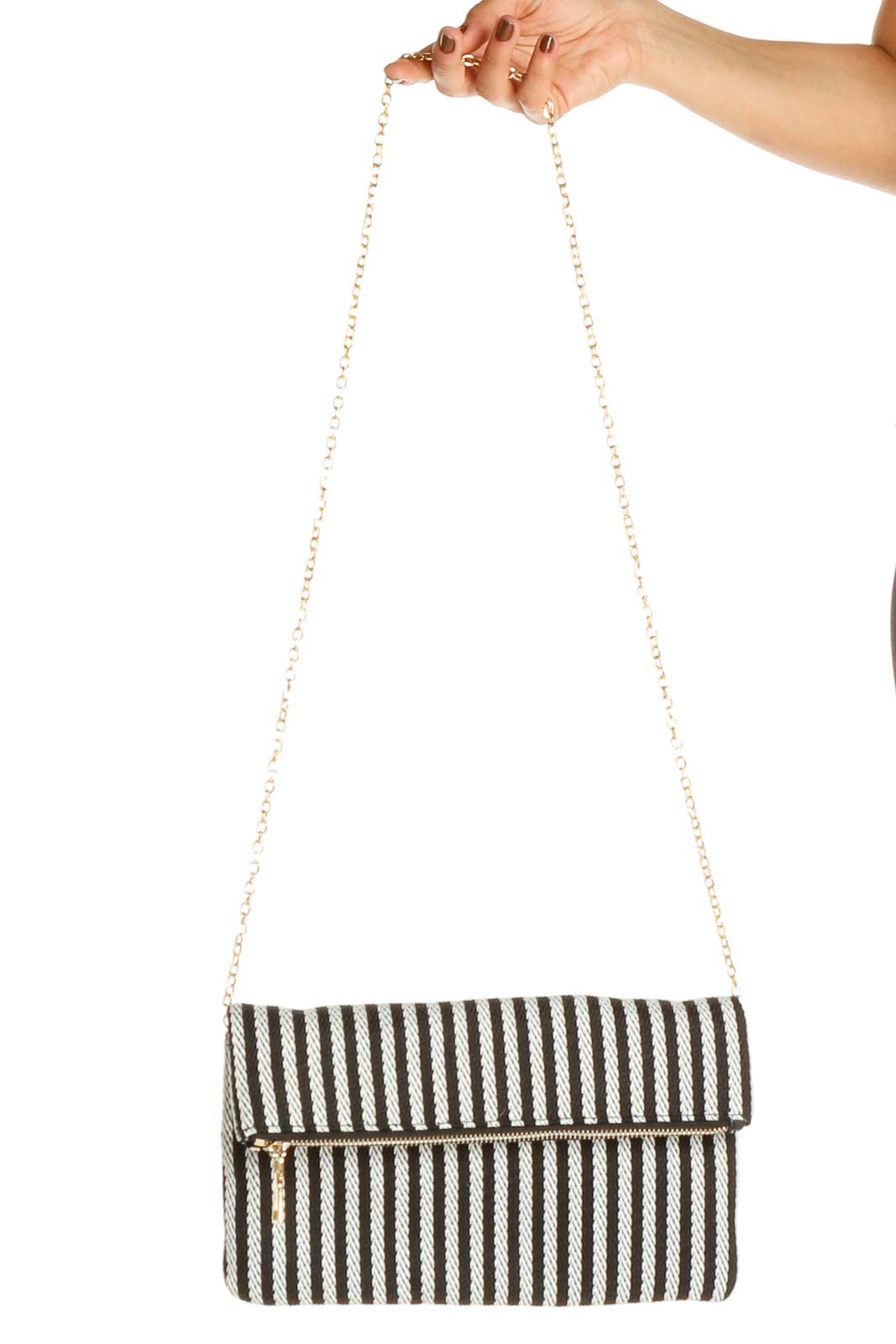 Black Striped Crossbody Bag Front