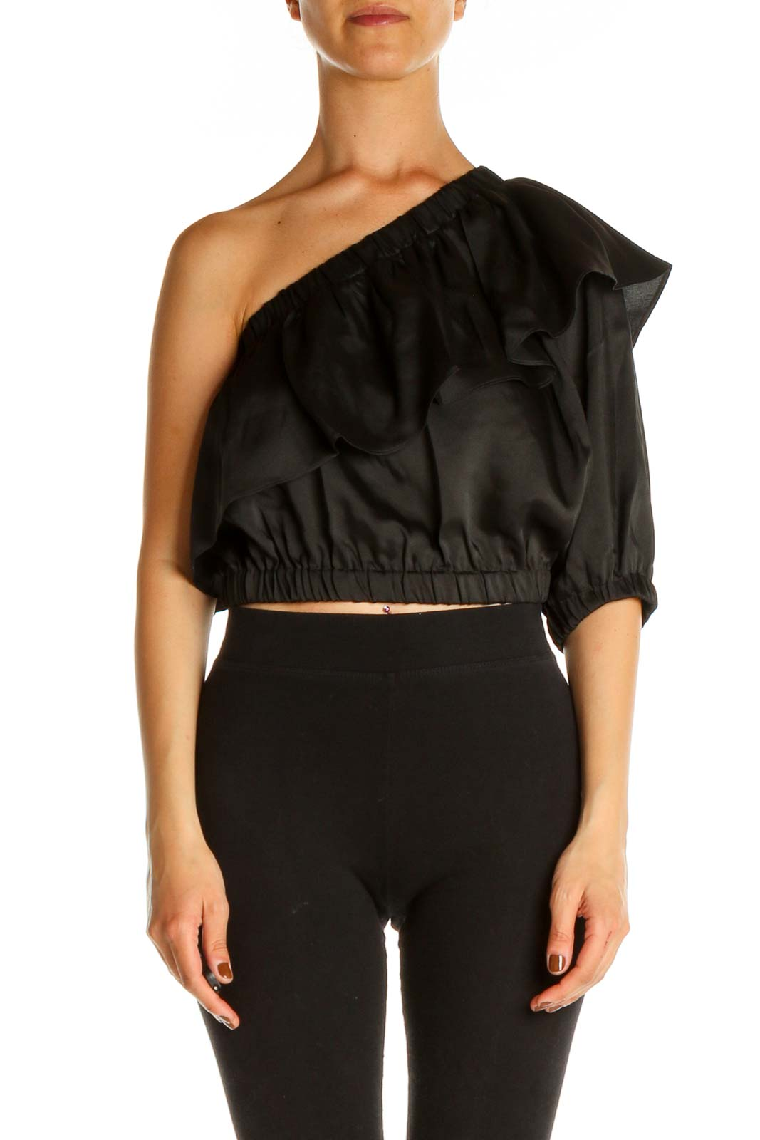 Black Solid Chic Blouse Front