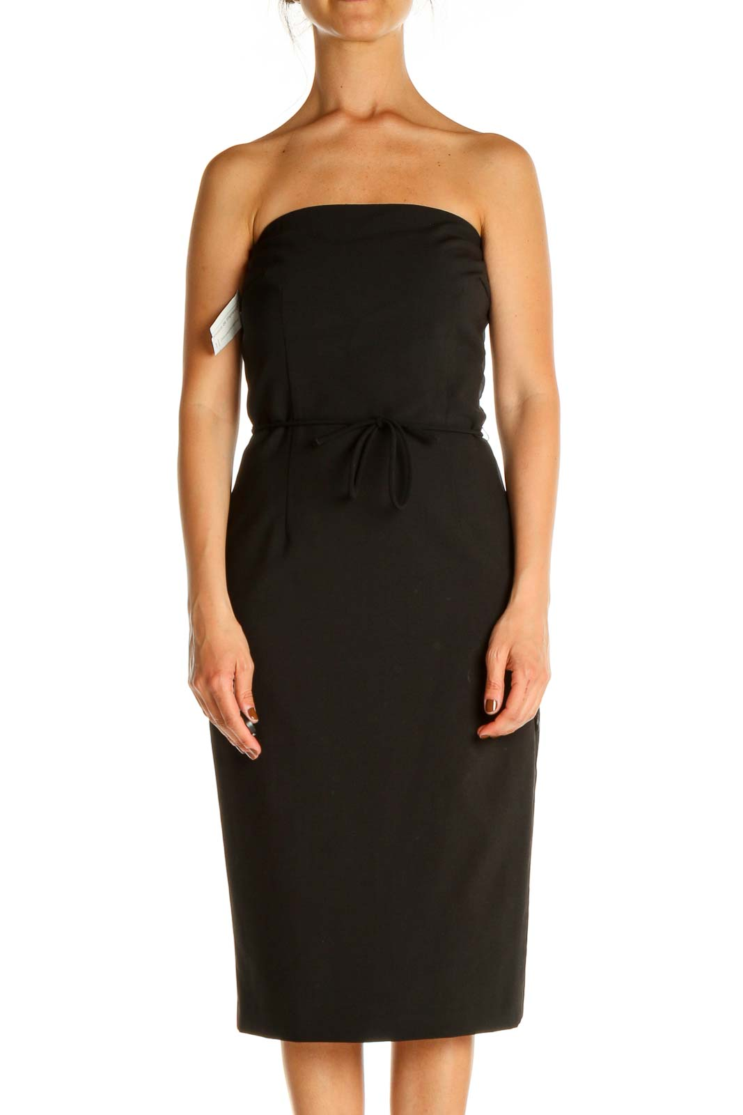 Black Solid Work Sheath Dress Front
