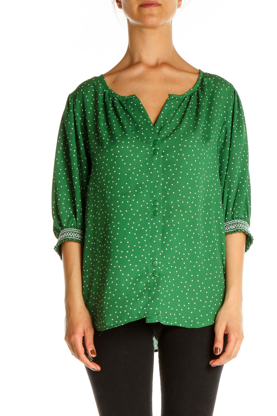 Green Polka Dot All Day Wear Blouse Front