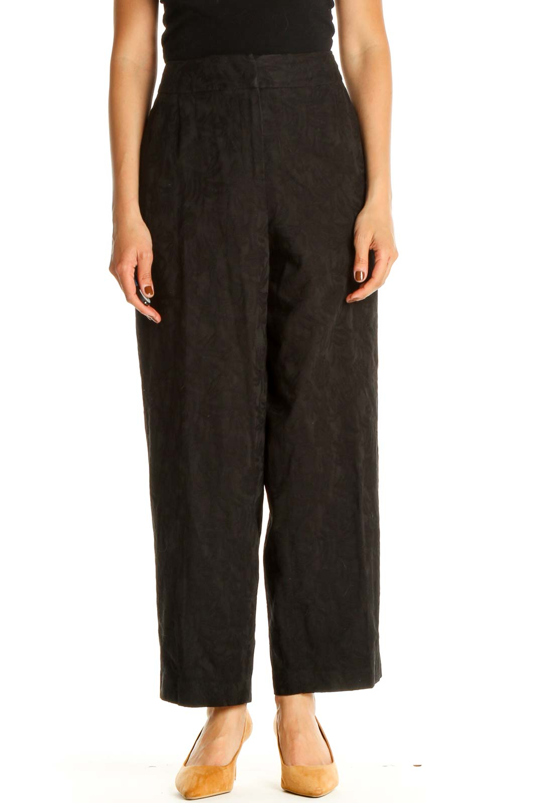 Black Textured Classic Trousers Front