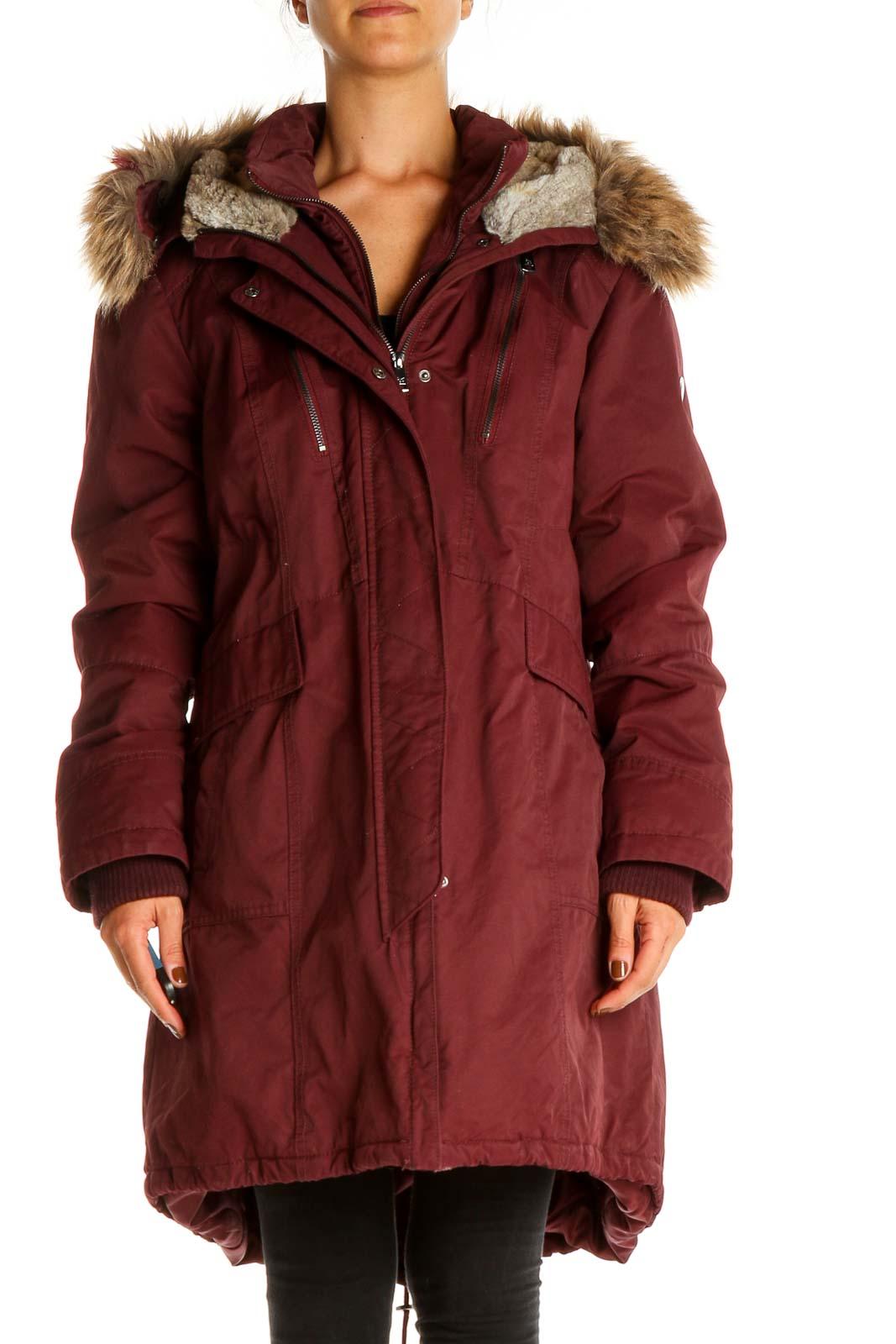 Red Parka Coat Front
