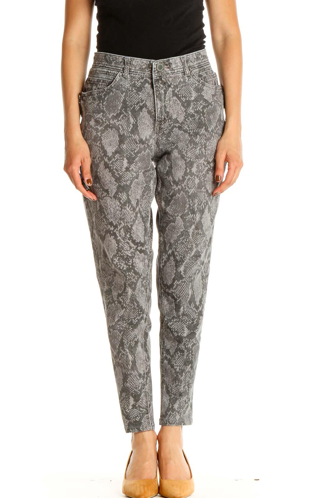 Gray Animal Print Casual Pants Front