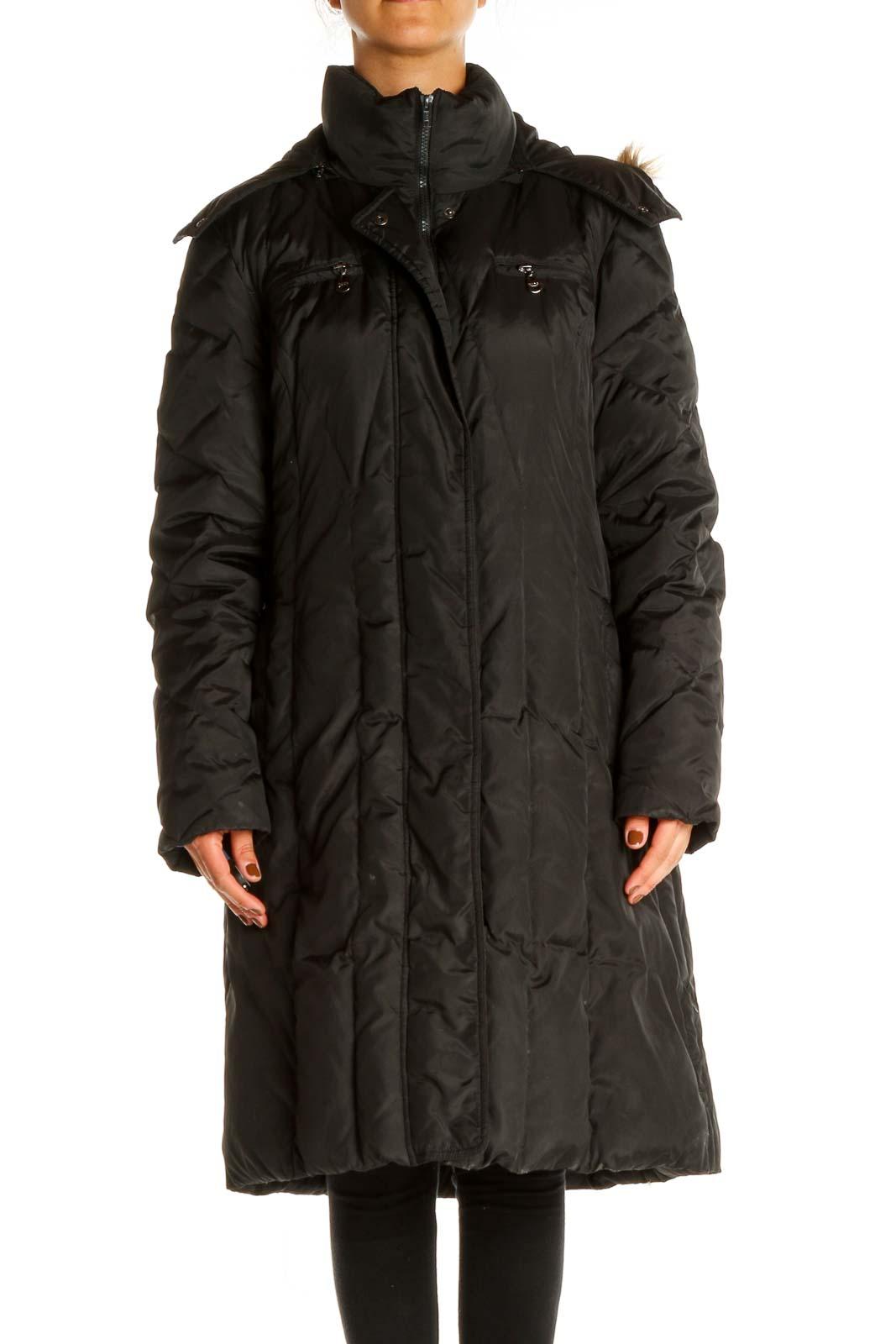 Black Puffer Coat Front