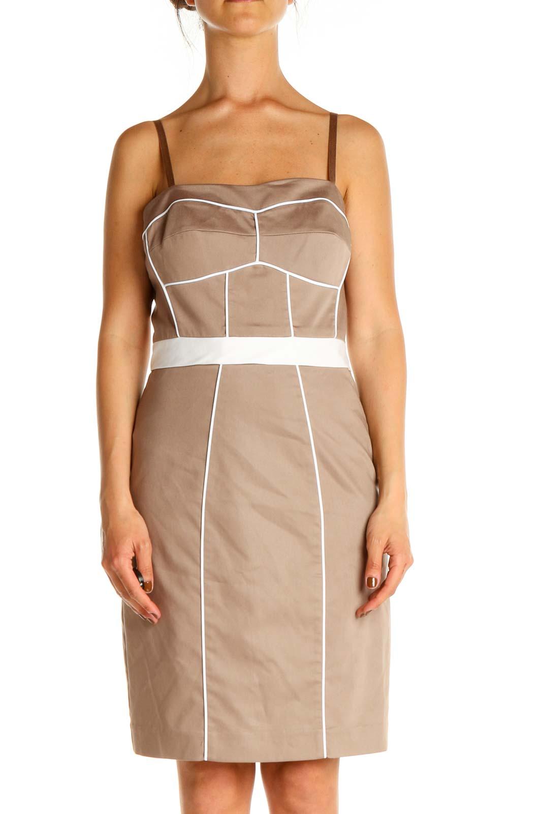 Beige Sheath Dress Front