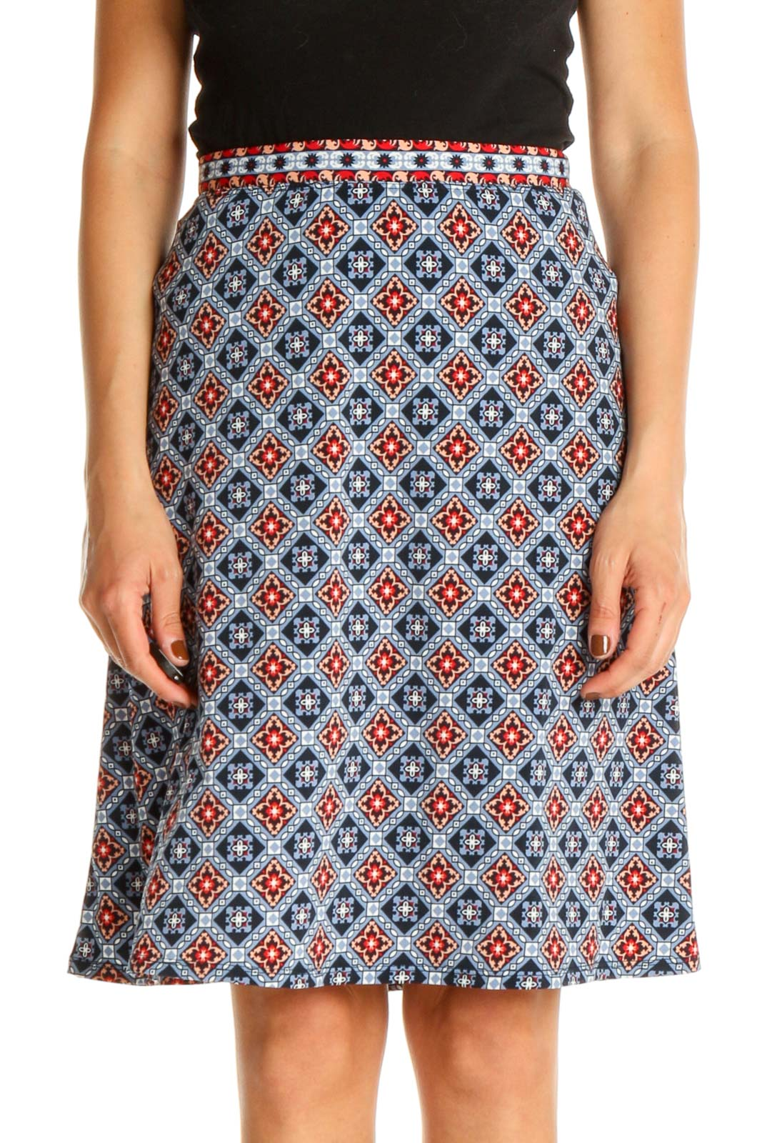 Blue Printed Bohemian A-Line Skirt Front