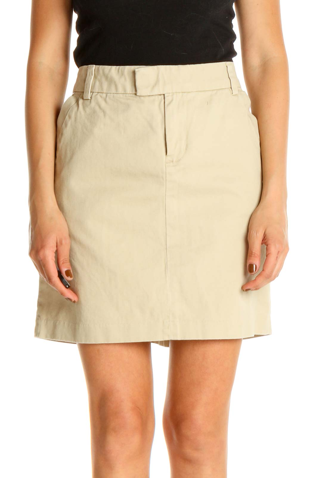 Beige Solid Brunch A-Line Skirt Front