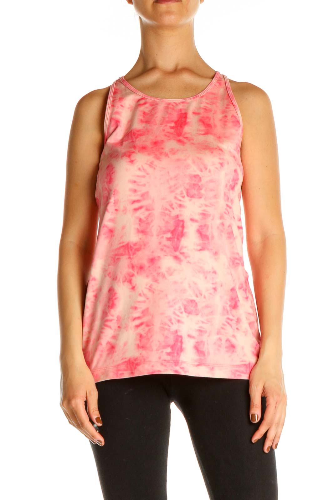 Pink Tie And Dye Activewear Tank Top Front