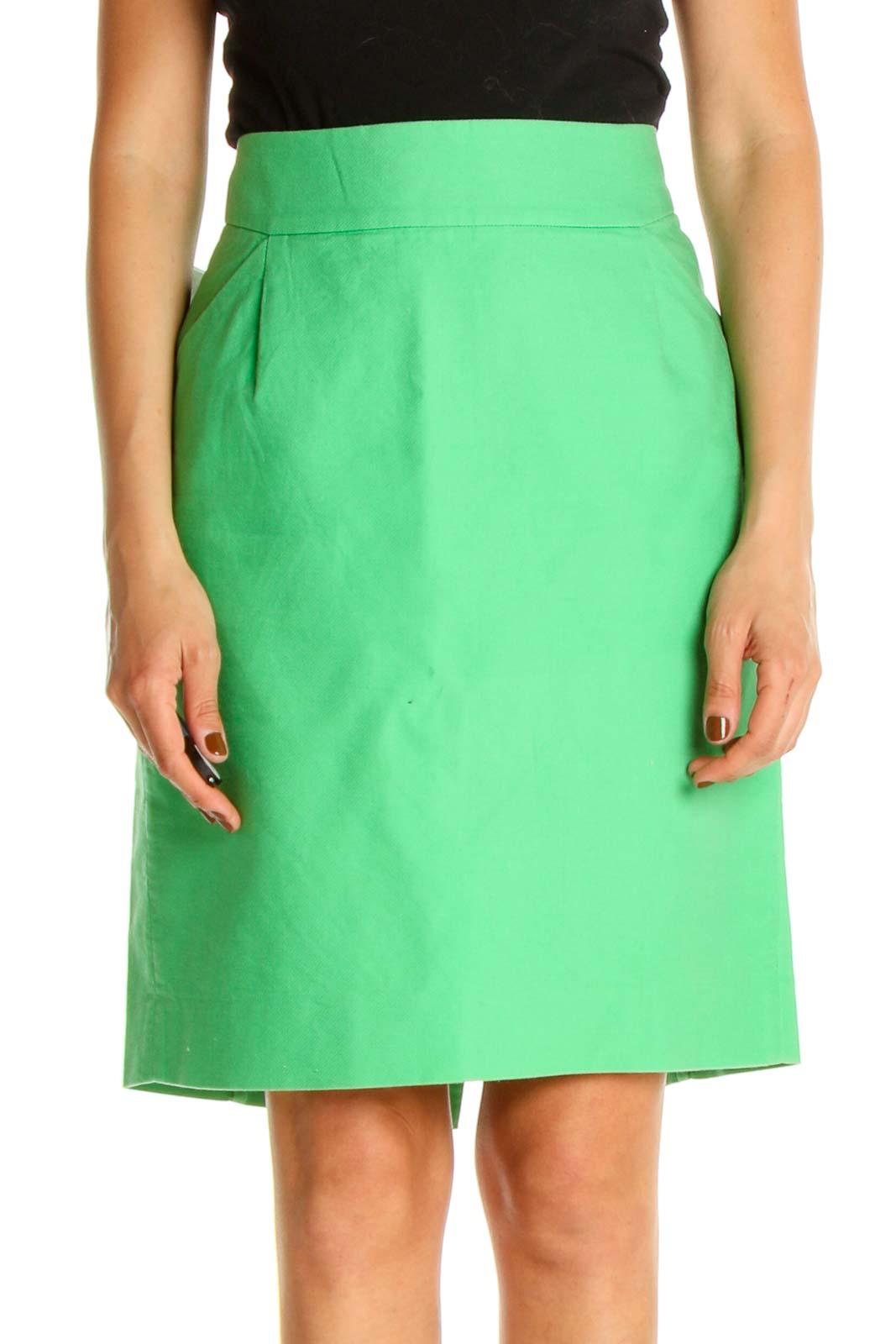 Green Brunch A-Line Skirt Front
