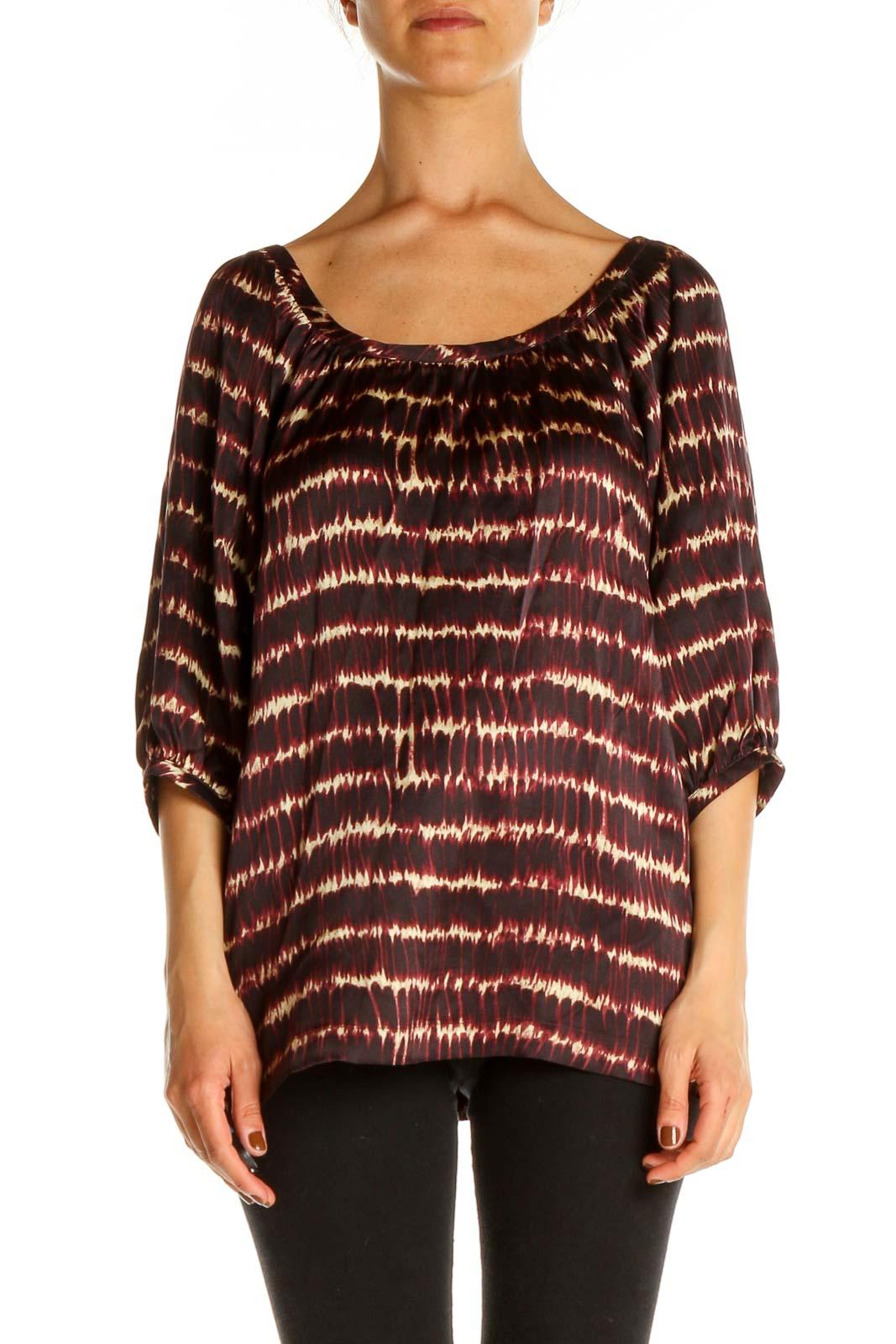 Brown Striped Bohemian Blouse Front