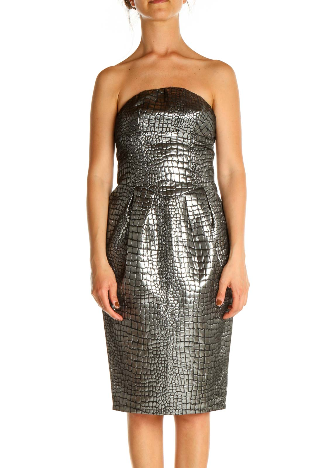 Gray Sequin Day Sheath Dress Front