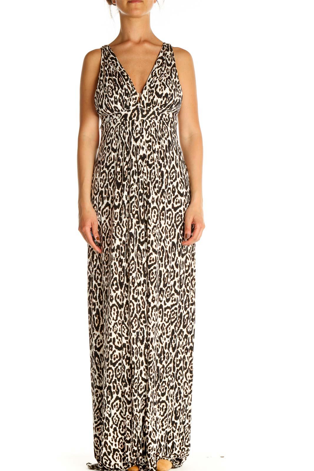 Beige Animal Print Column Dress Front