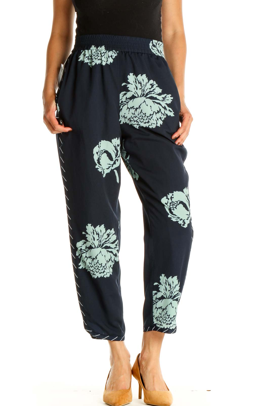 Blue Graphic Print All Day Wear Pants Front