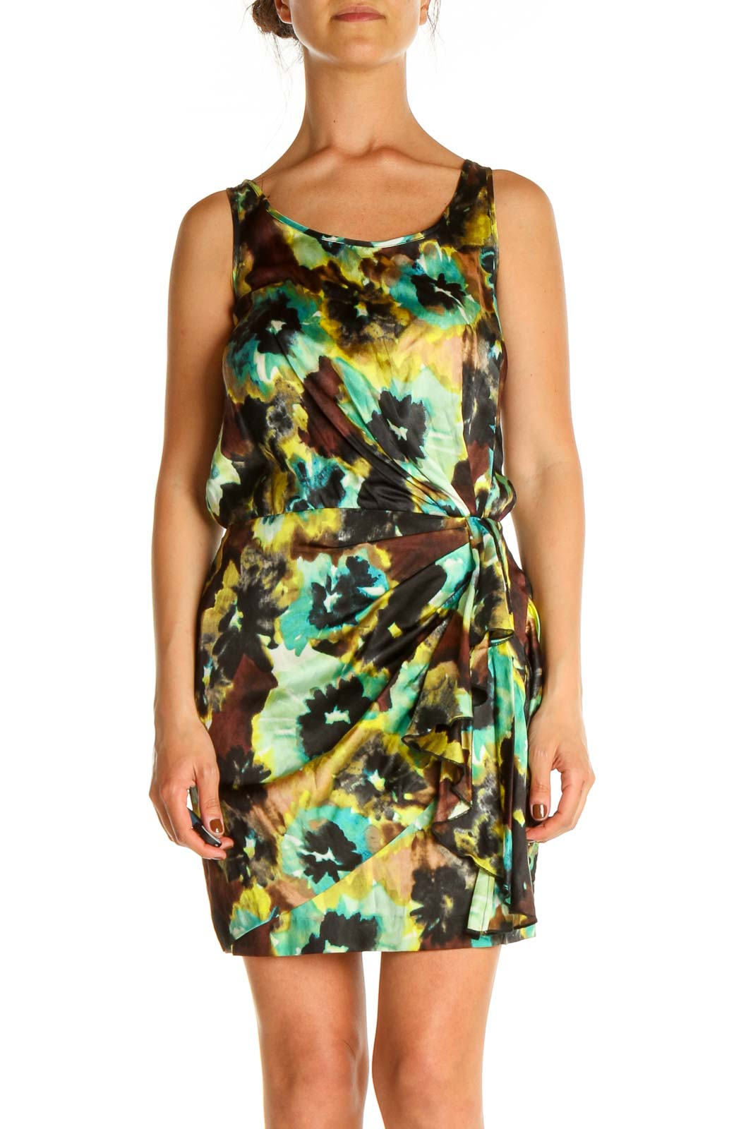 Green Printed Cocktail Dress Front