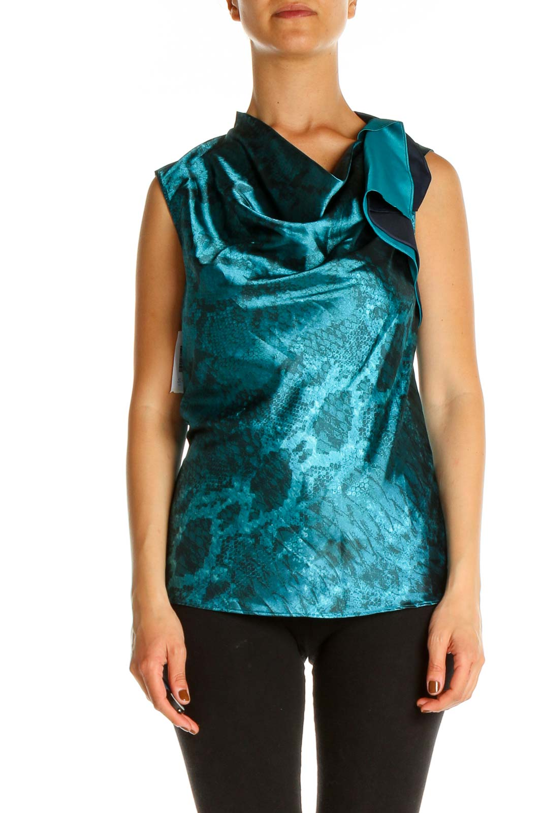 Blue Animal Print Formal Blouse Front