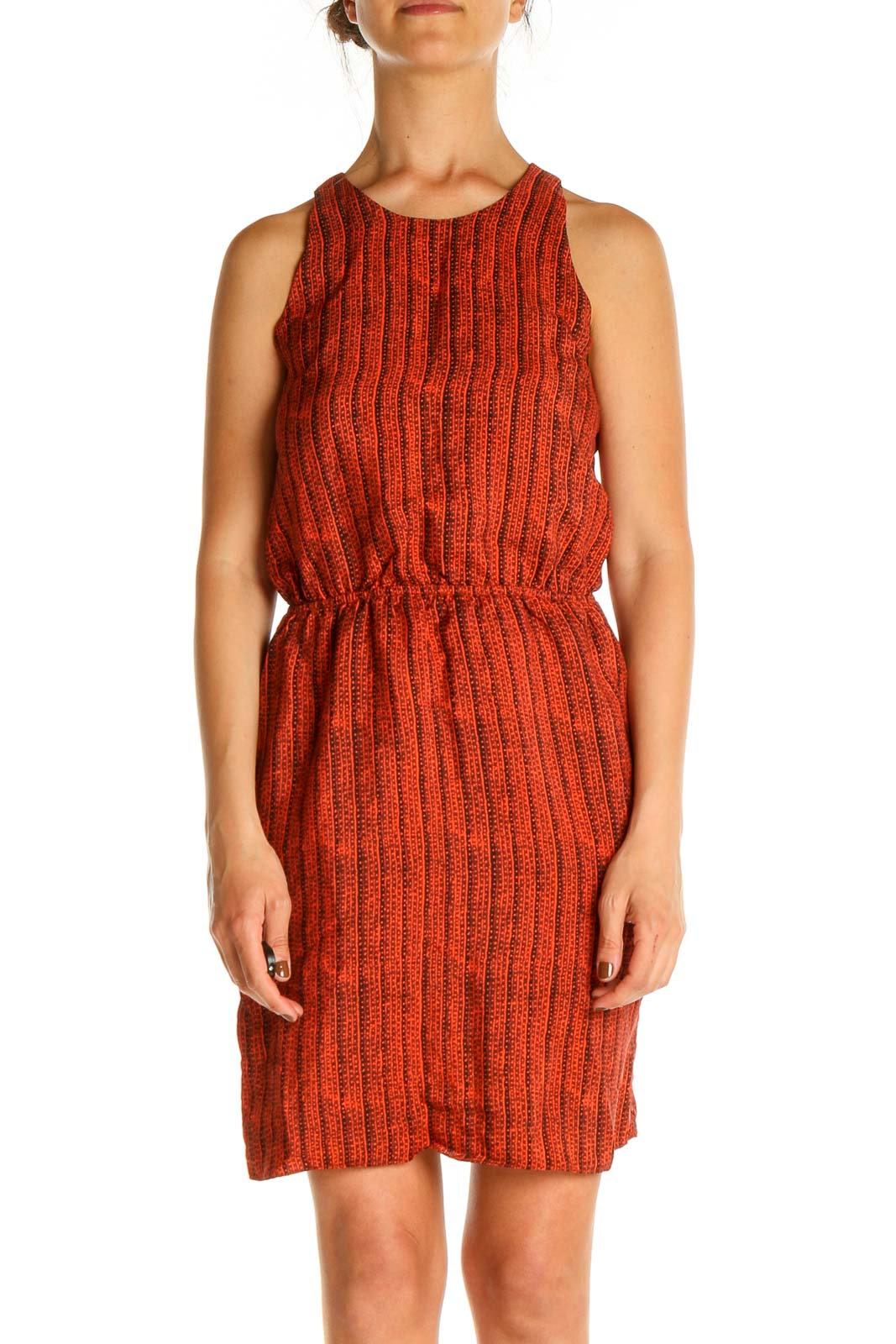 Red Printed Retro Shift Dress Front