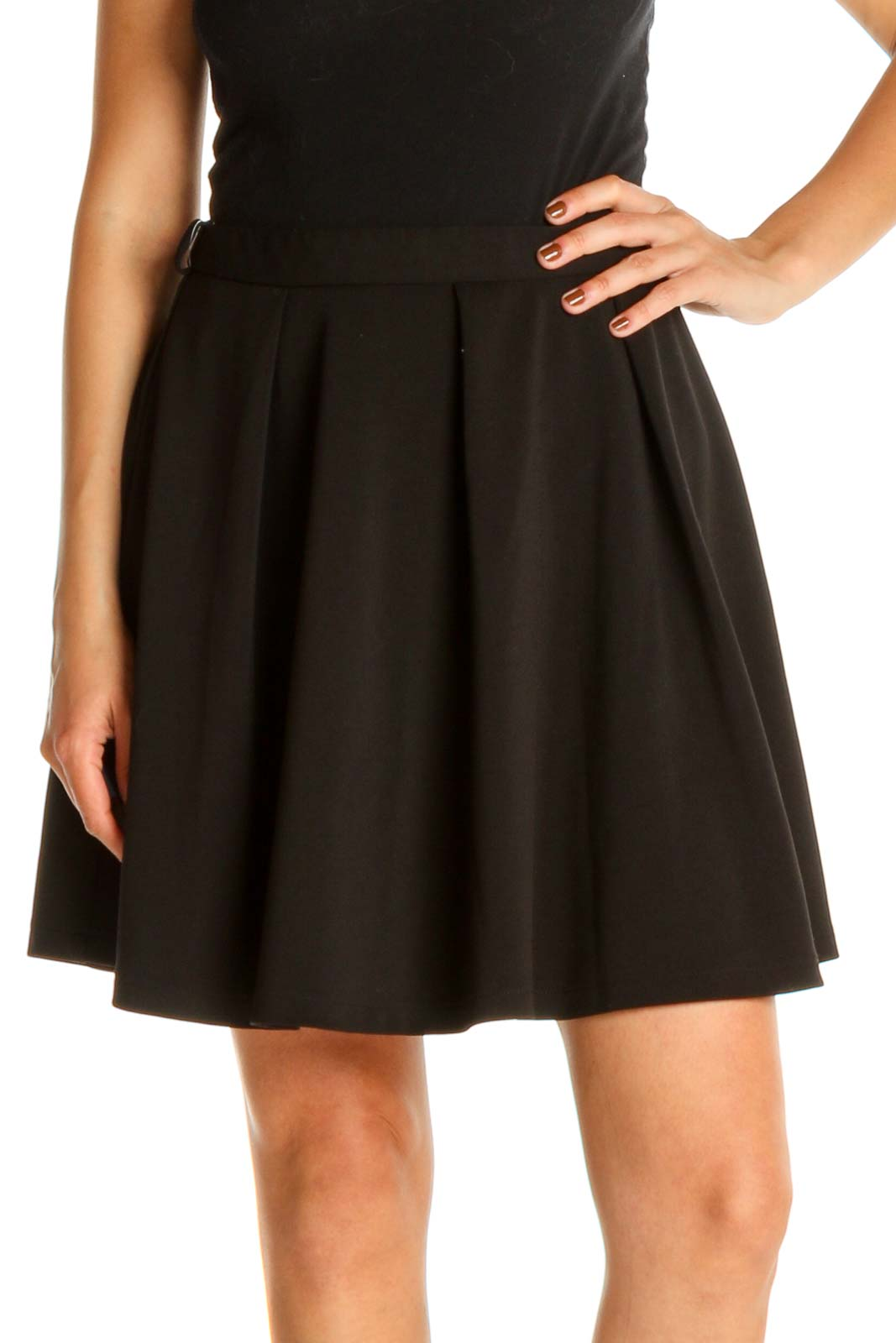Black Solid Mini Skirt Front