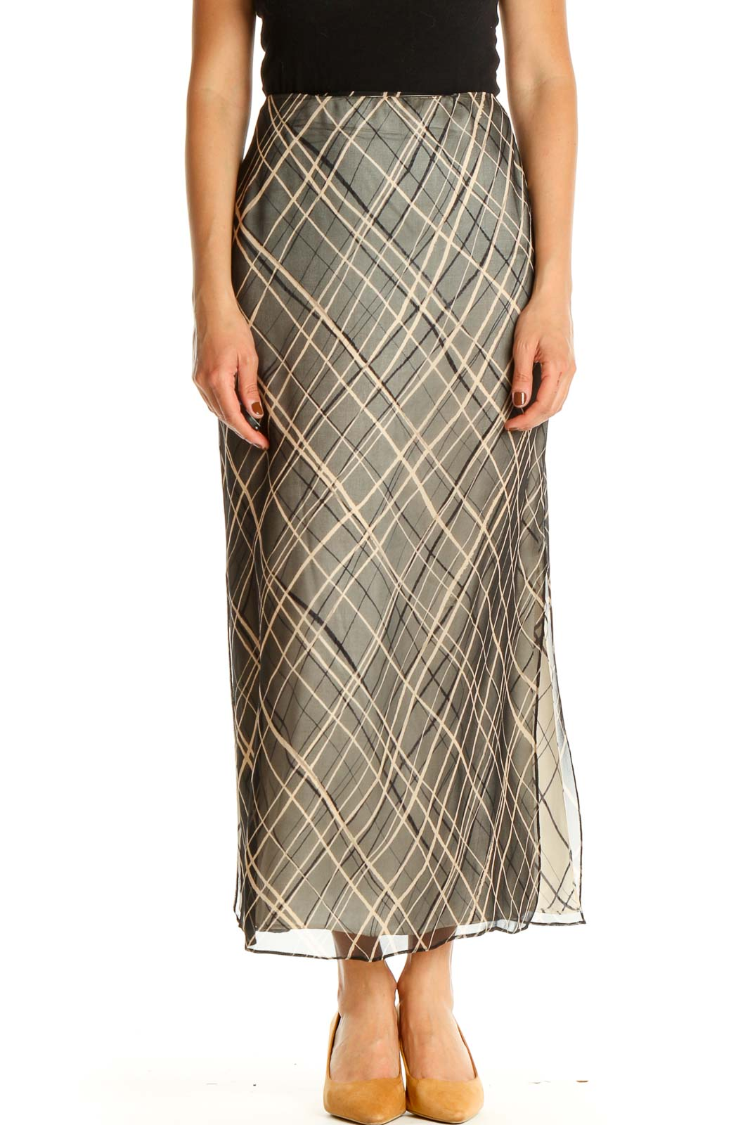 Gray Printed Holiday A-Line Skirt Front